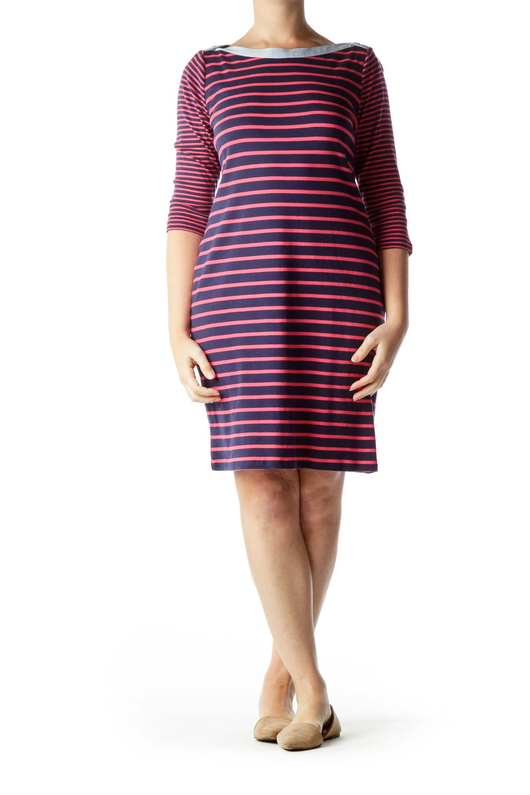 Navy Striped Cotton Dress