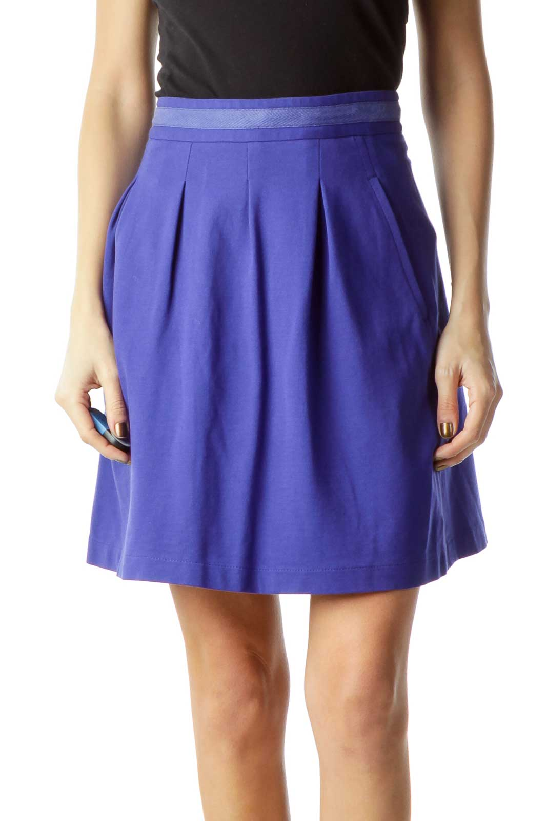 Blue Pocketed Pleated Mini Skirt