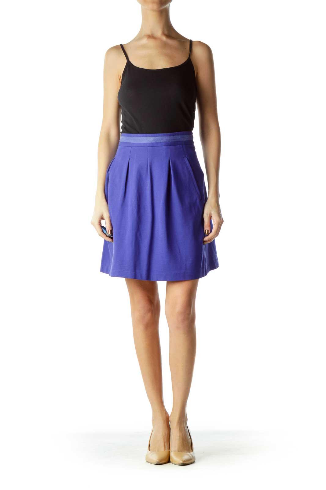 Blue Pocketed Pleated Mini Skirt