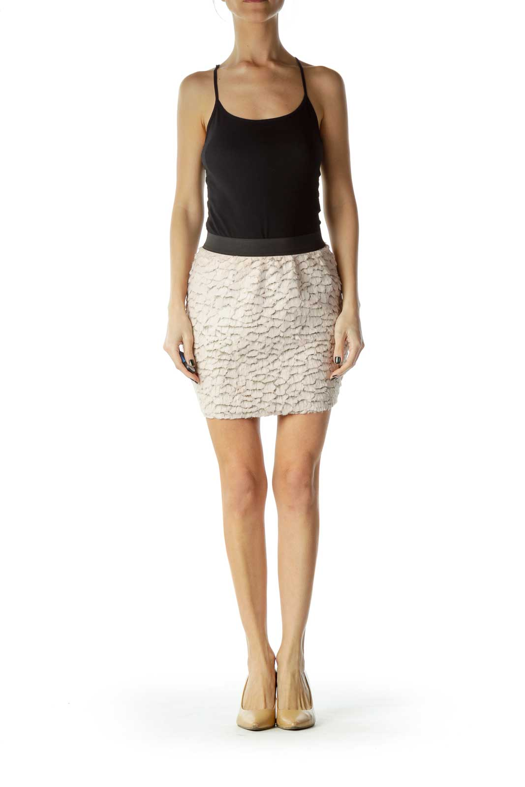 Pink Faux-Fur Mini Skirt