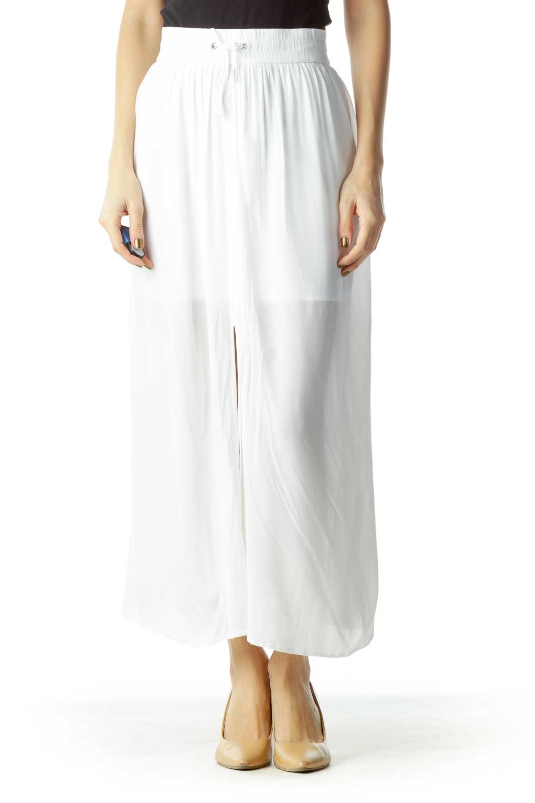 White Sheer Midi Skirt