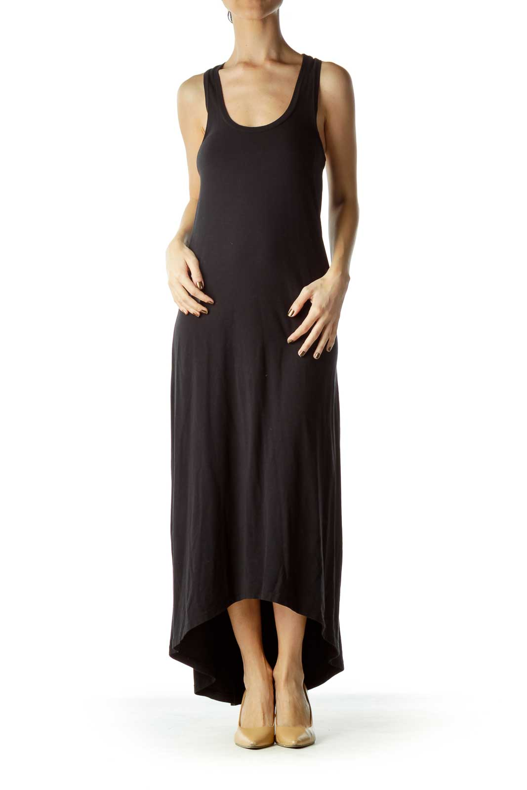 Black Shift Cotton Maxi Dress
