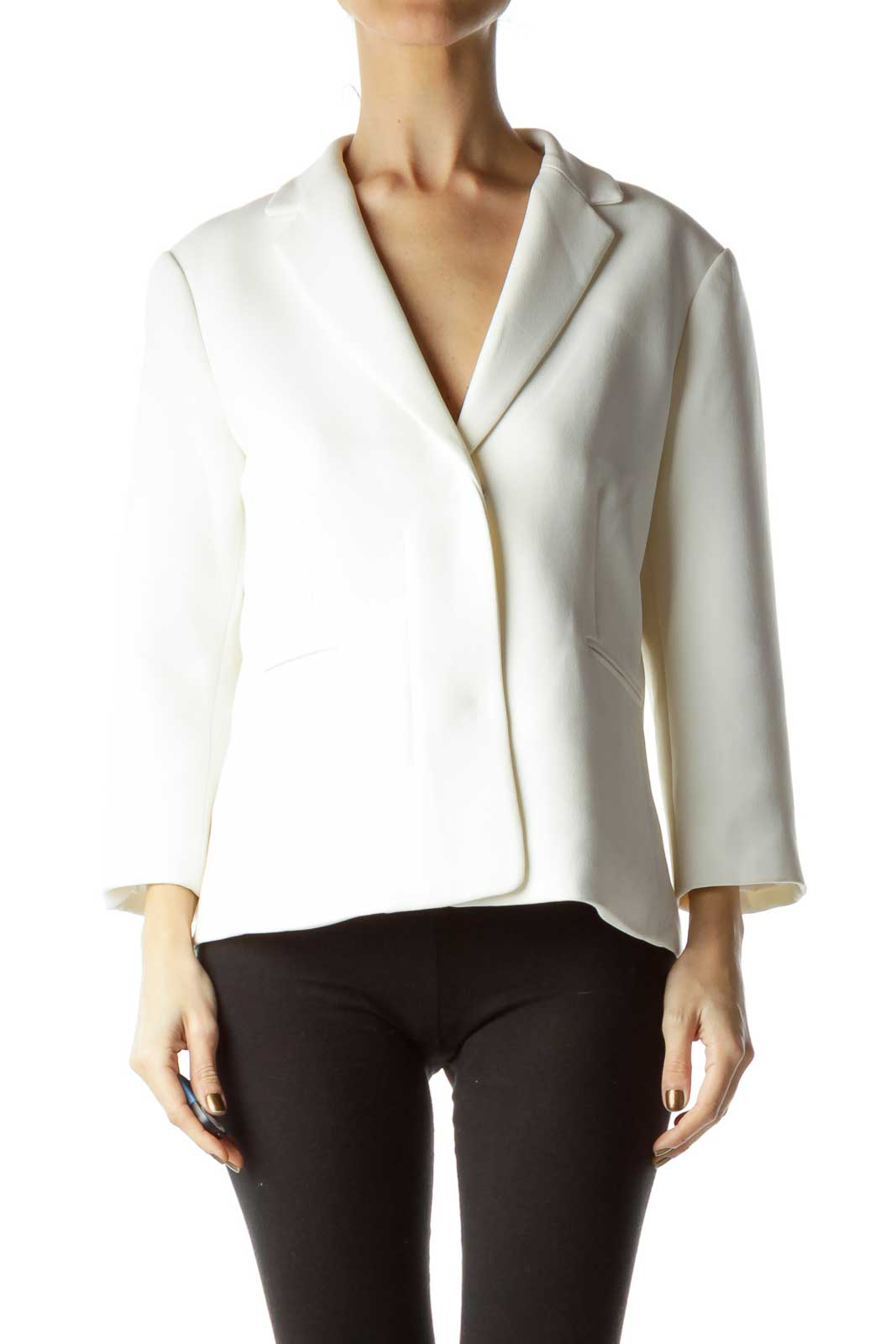 White Snap Button Blazer
