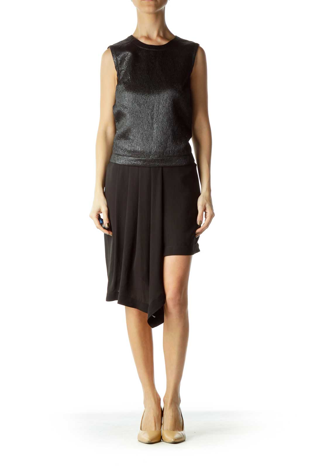 Black Asymmetric Mini Dress