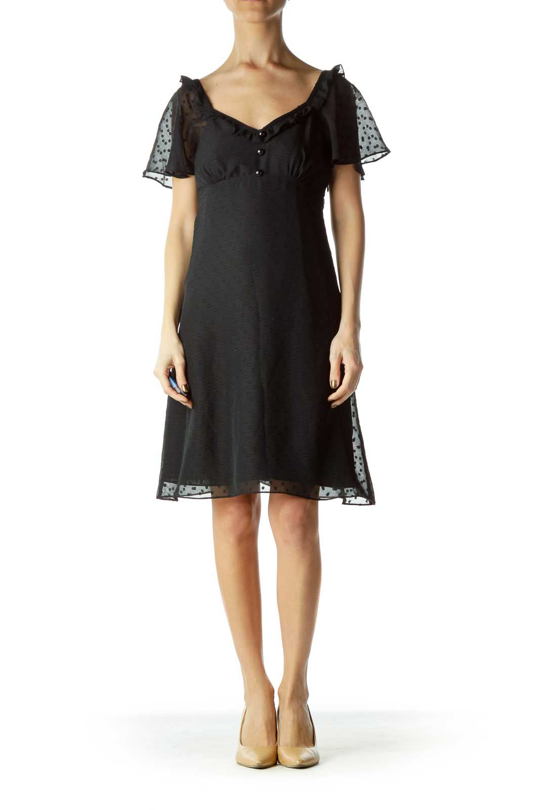 Black Polka-Dot Empire Waist Dress