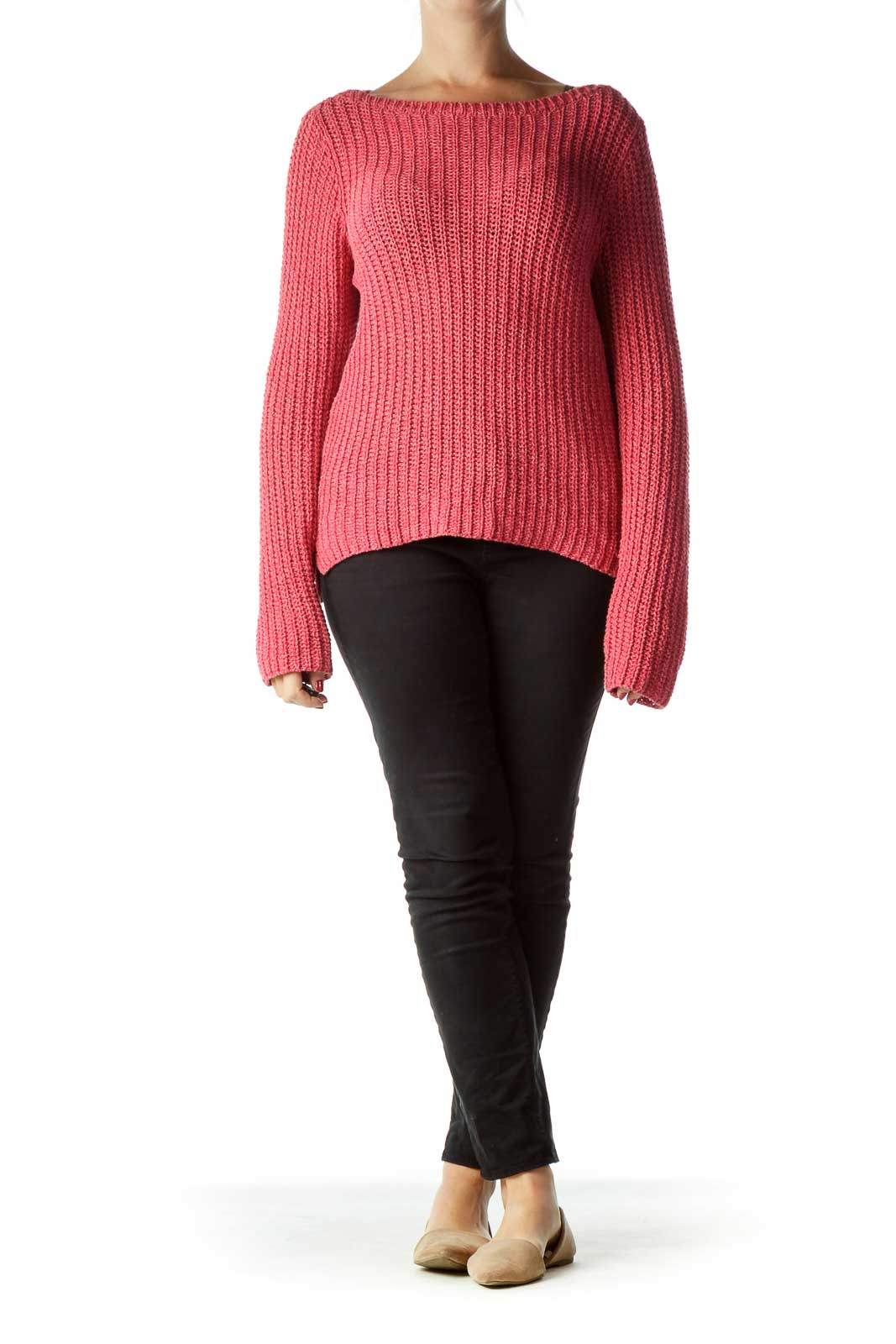 Pink Cable Knit Rund Neck Sweater