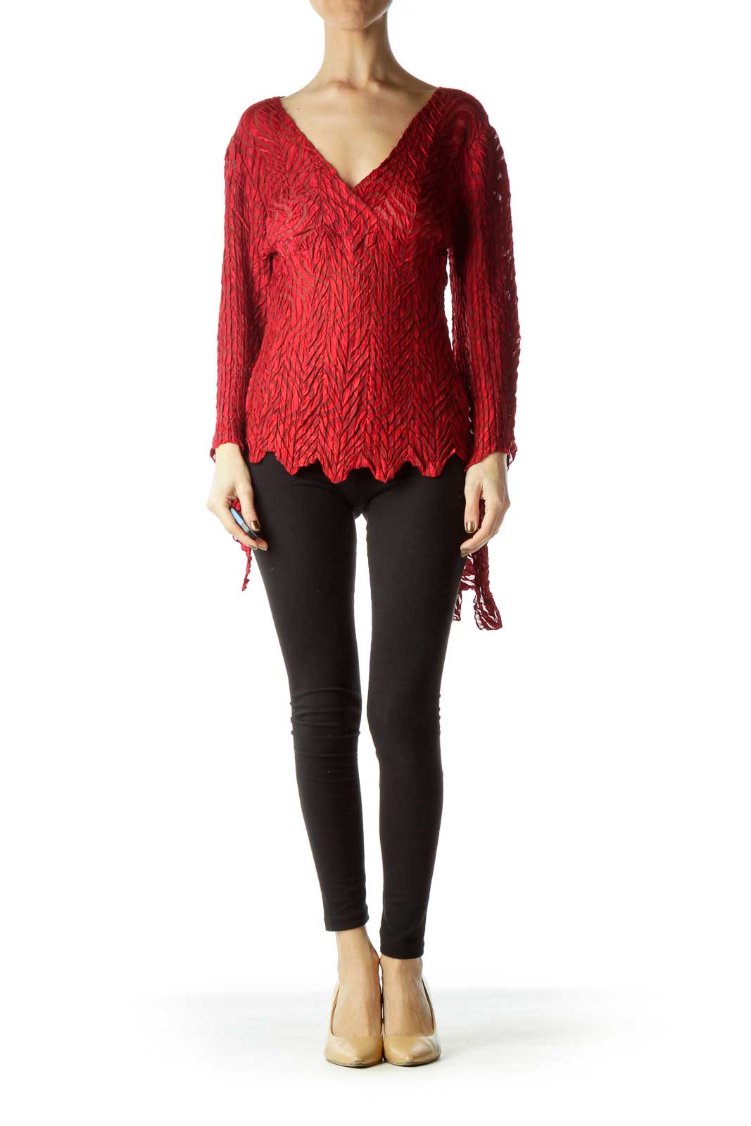 Red Scrunched Stretchy Wrap Blouse