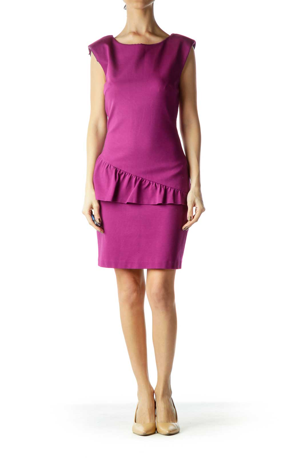 Purple Sleeveless Ruffled Work Dress