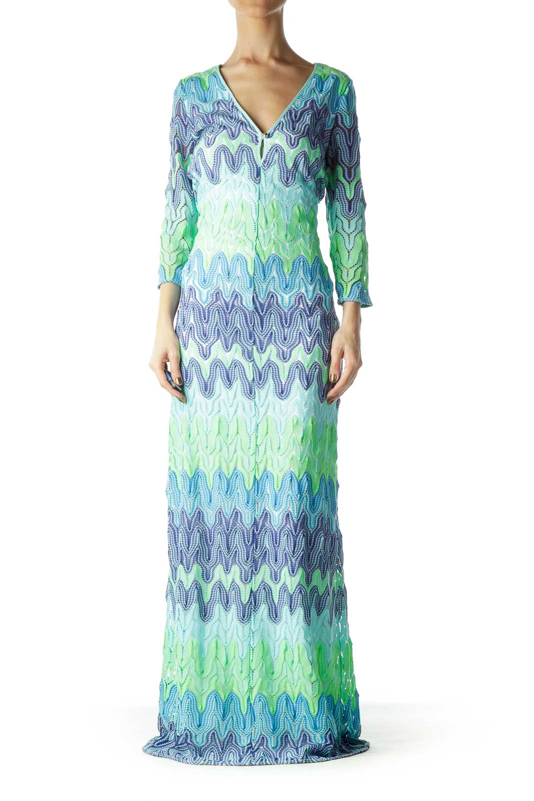 Green Navy Lace Maxi Dress