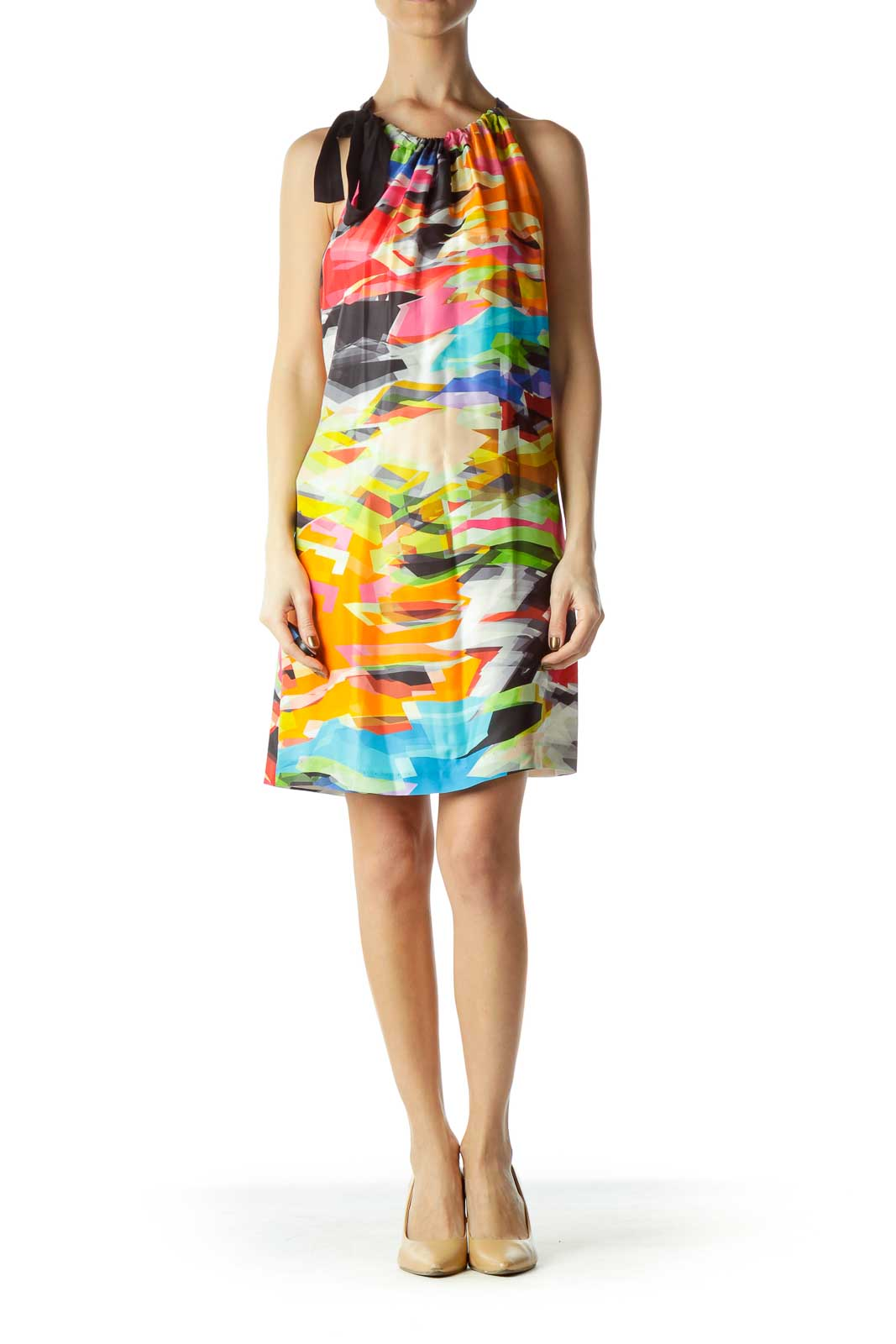 Multicolor Silk Tent Silk Dress