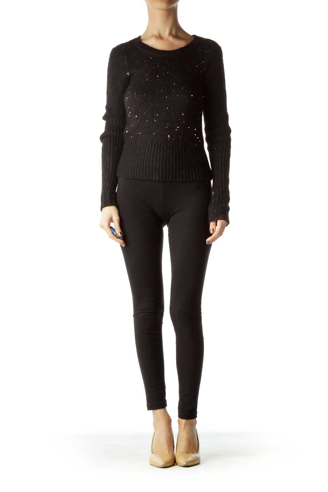 Black Gold Cozy Sequined Sweater