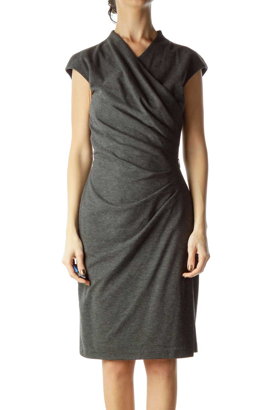 Gray Scrunched Bodycon Dress