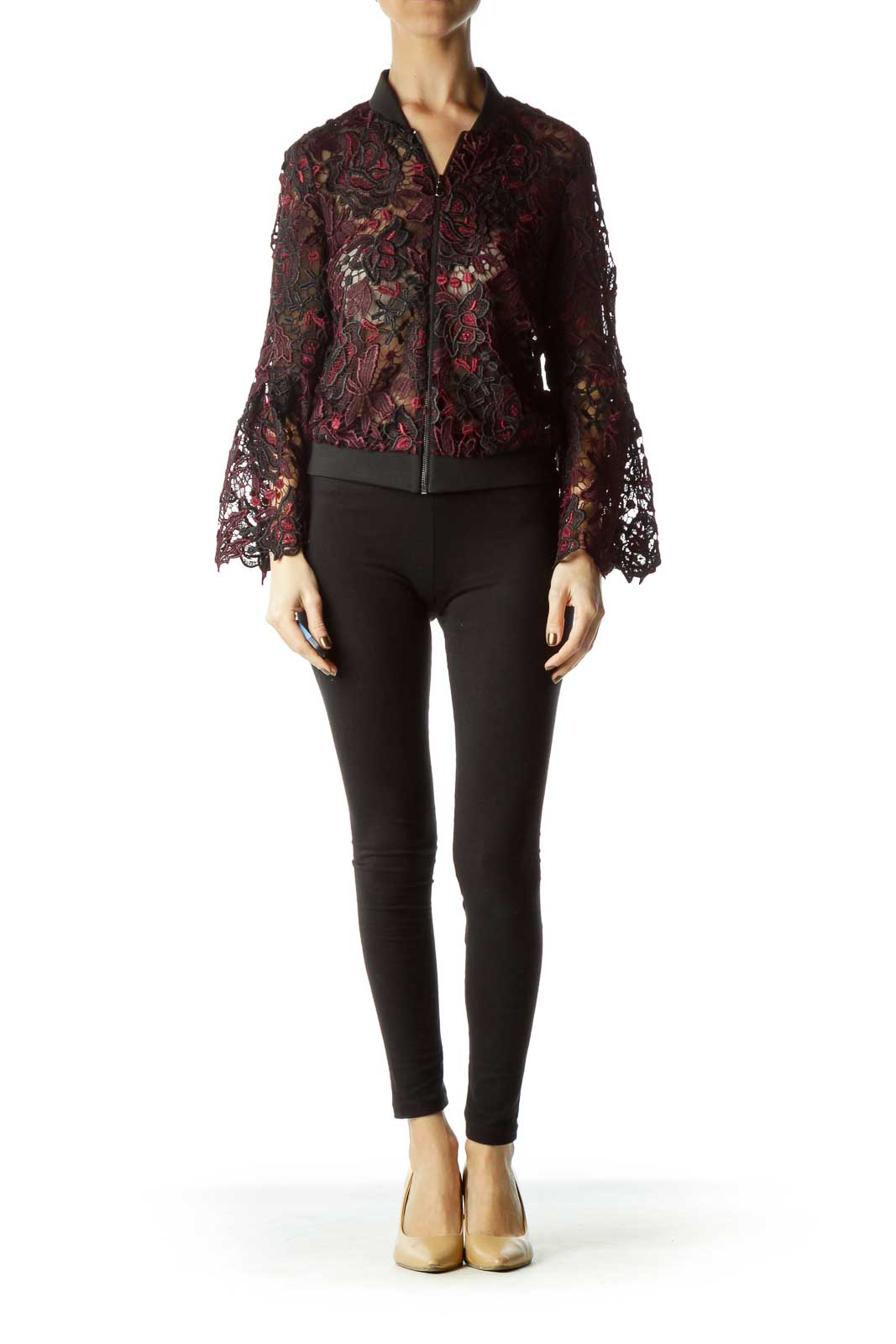 Dark Red Black Lace Flower Bomber Jacket