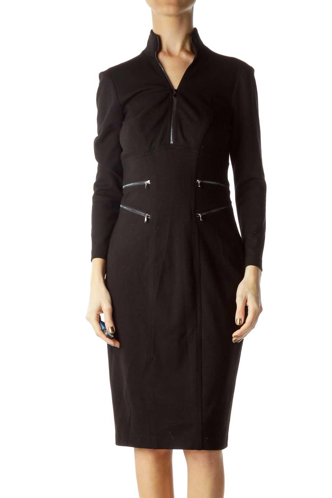 Black Zipper Detail Bodycon Dress