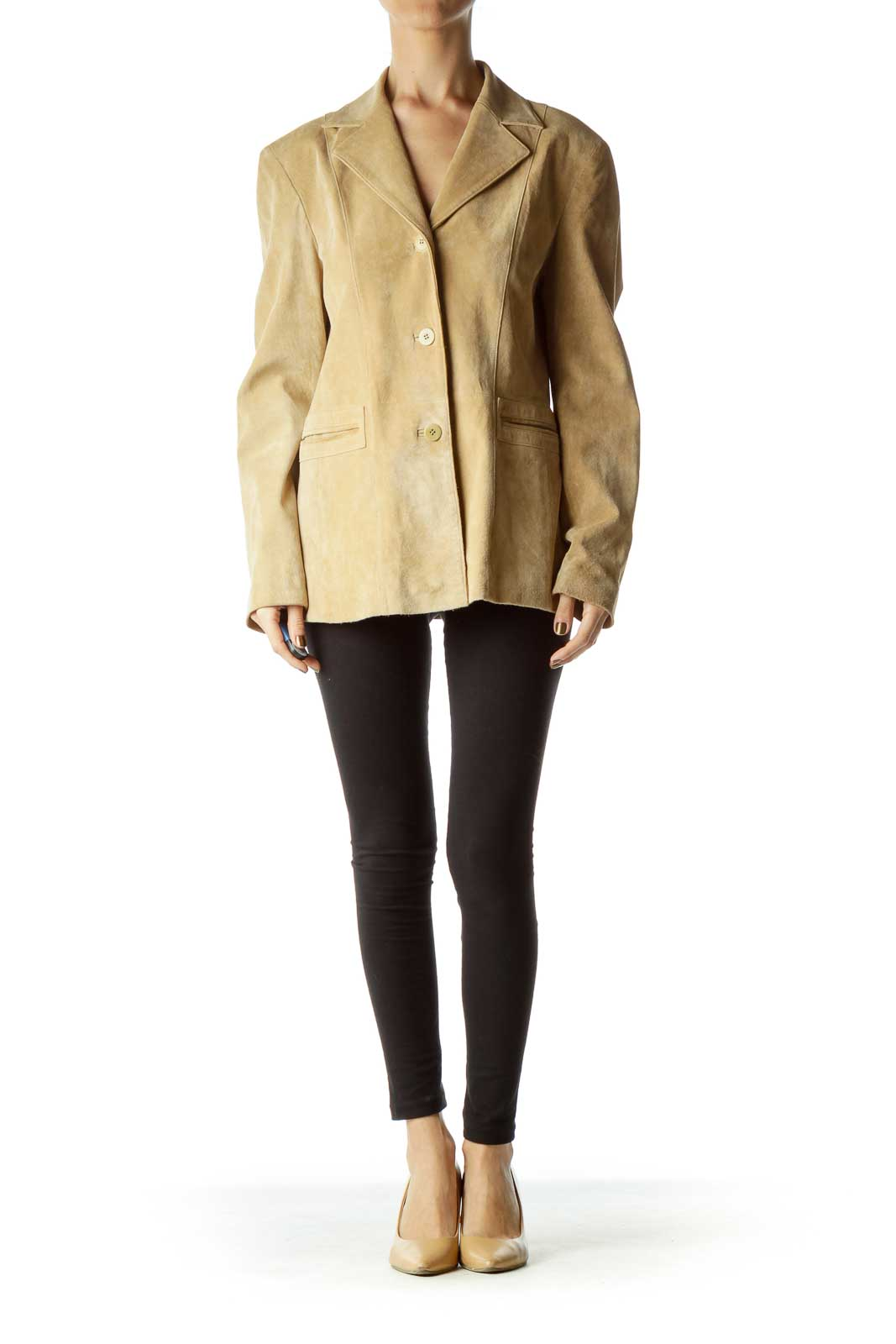 Beige Suede Shoulder-Padded Blazer