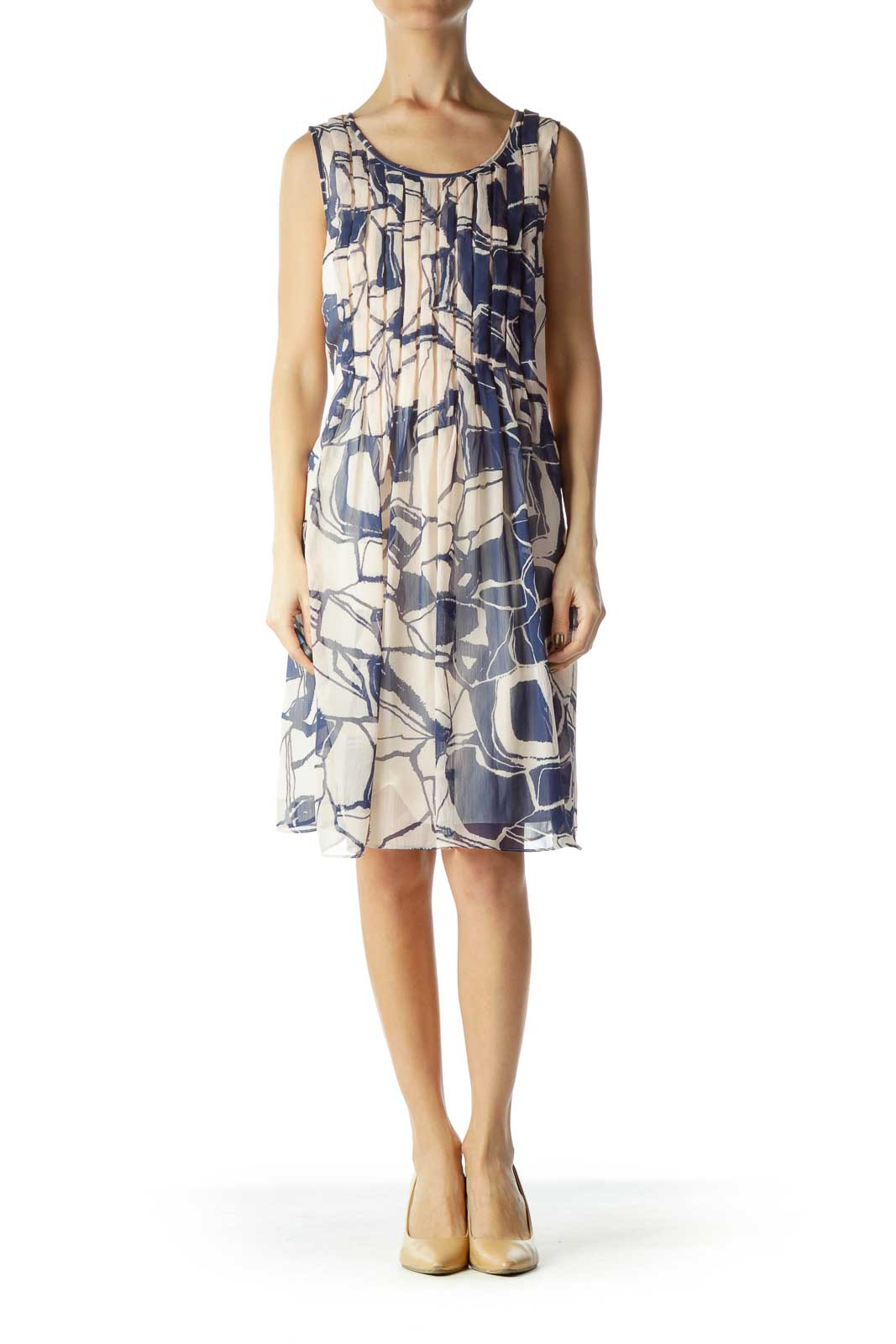Cream Navy Print Pleated Tent Dress
