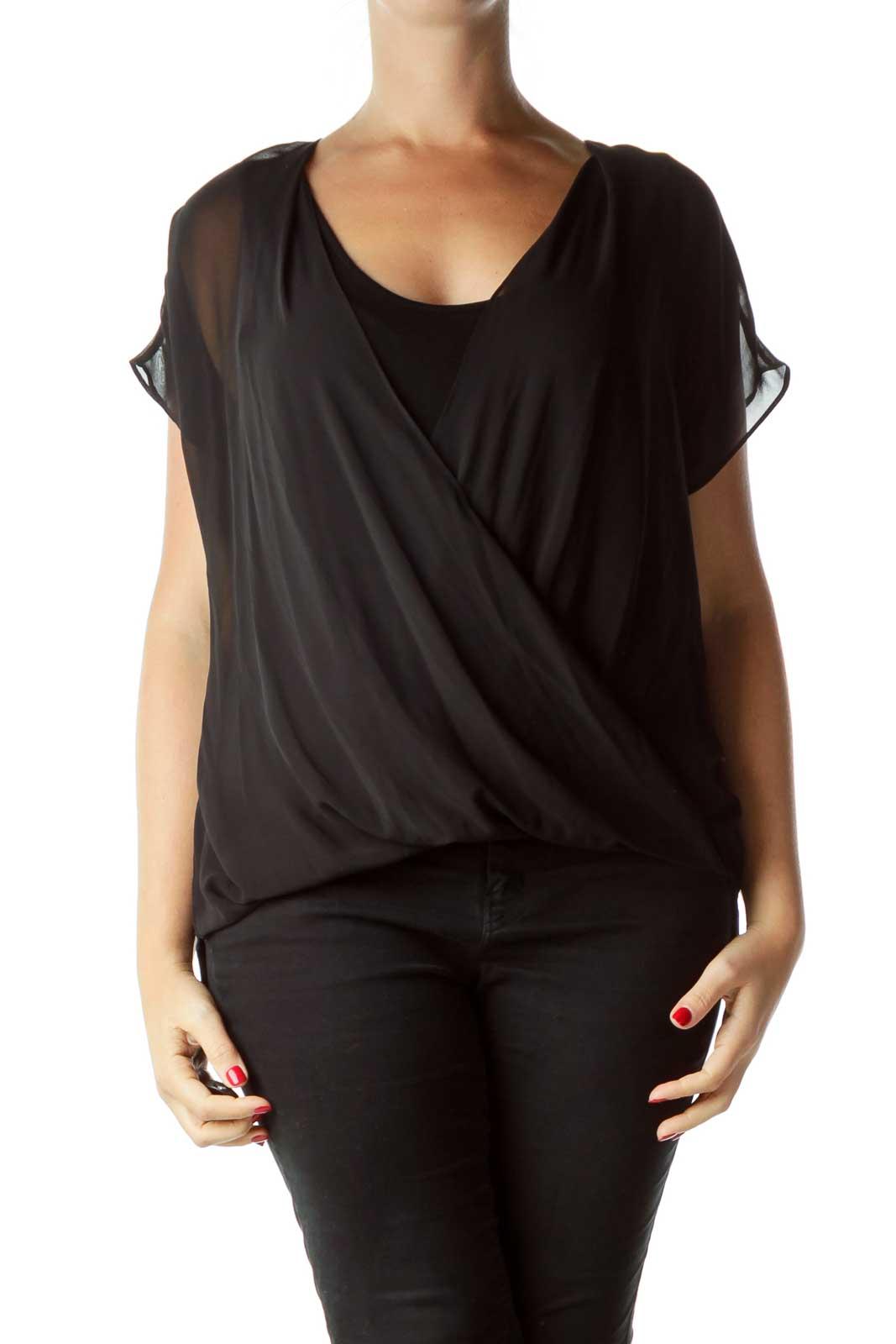 Black Sleeveless Blouse with Sheer Detail