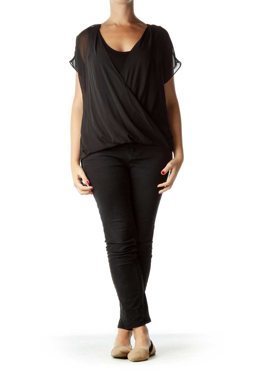 Black Sleeveless Blouse with Sheer Detail