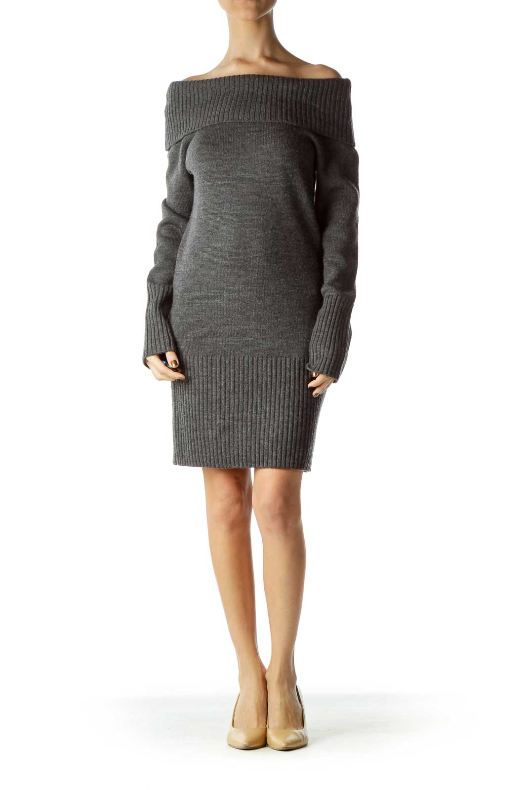 Gray Cowl Neck Knit Dress
