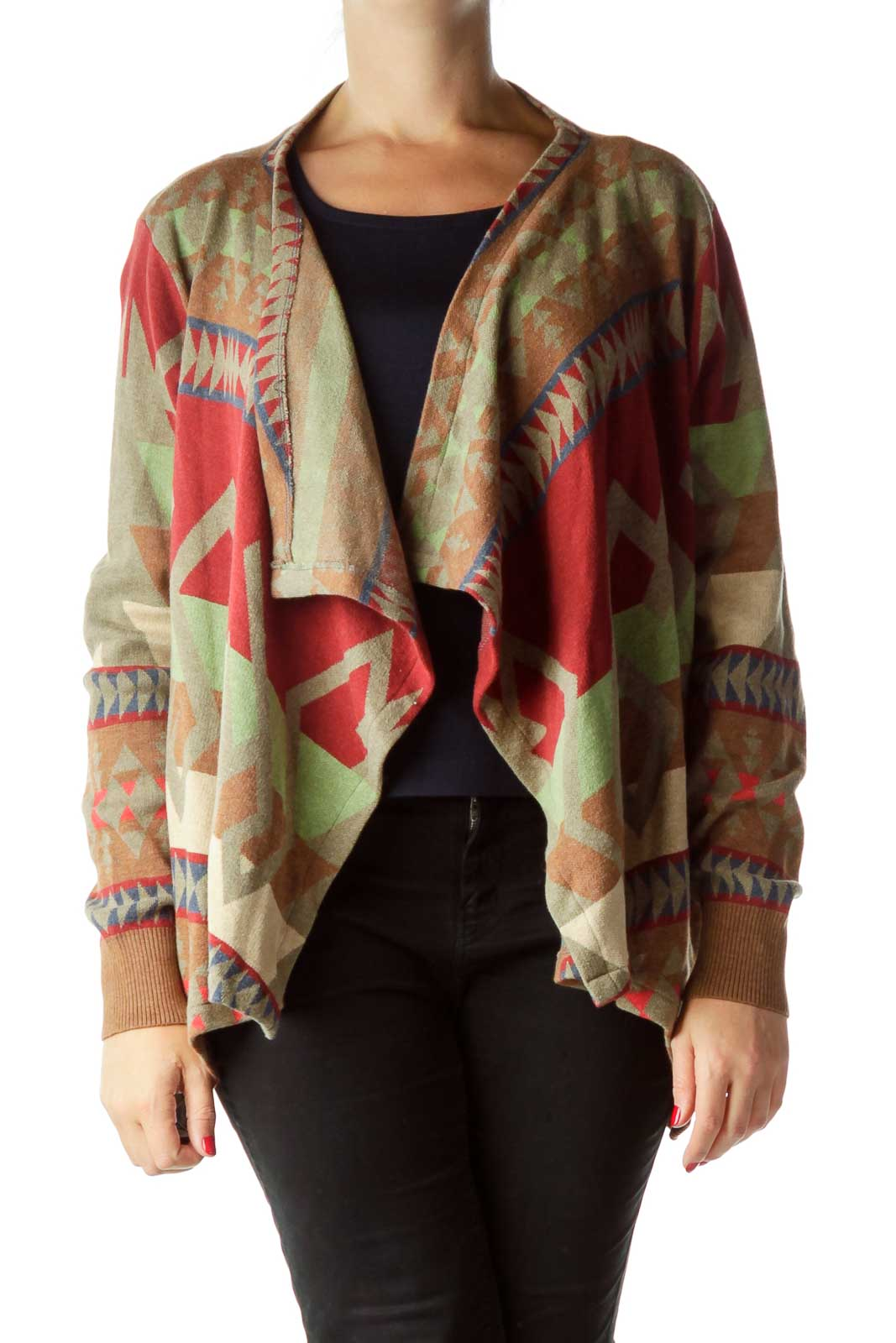 Red Multicolor Tribal Knit Cardigan