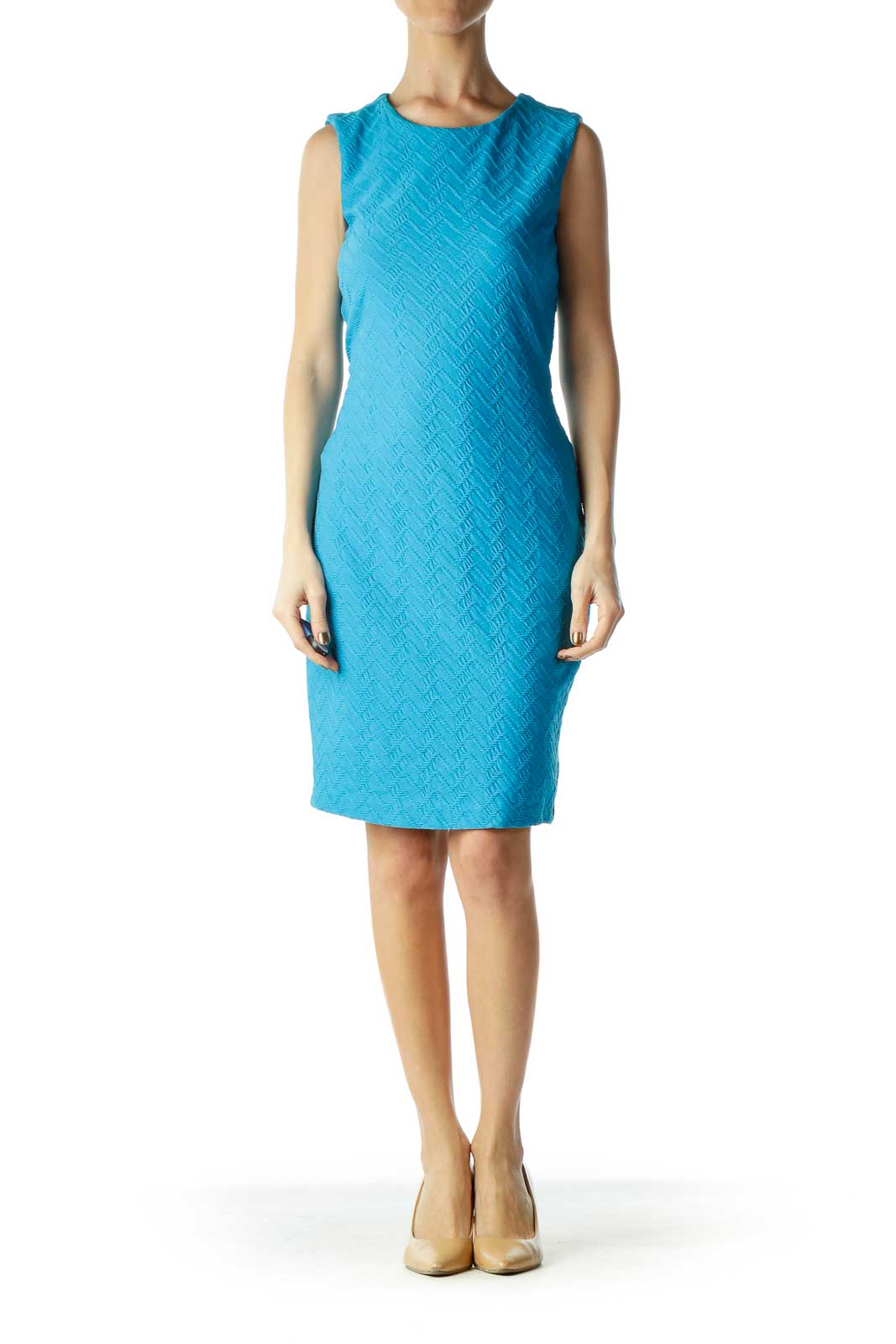 Blue Textured Sleeveless Bodycon Dress