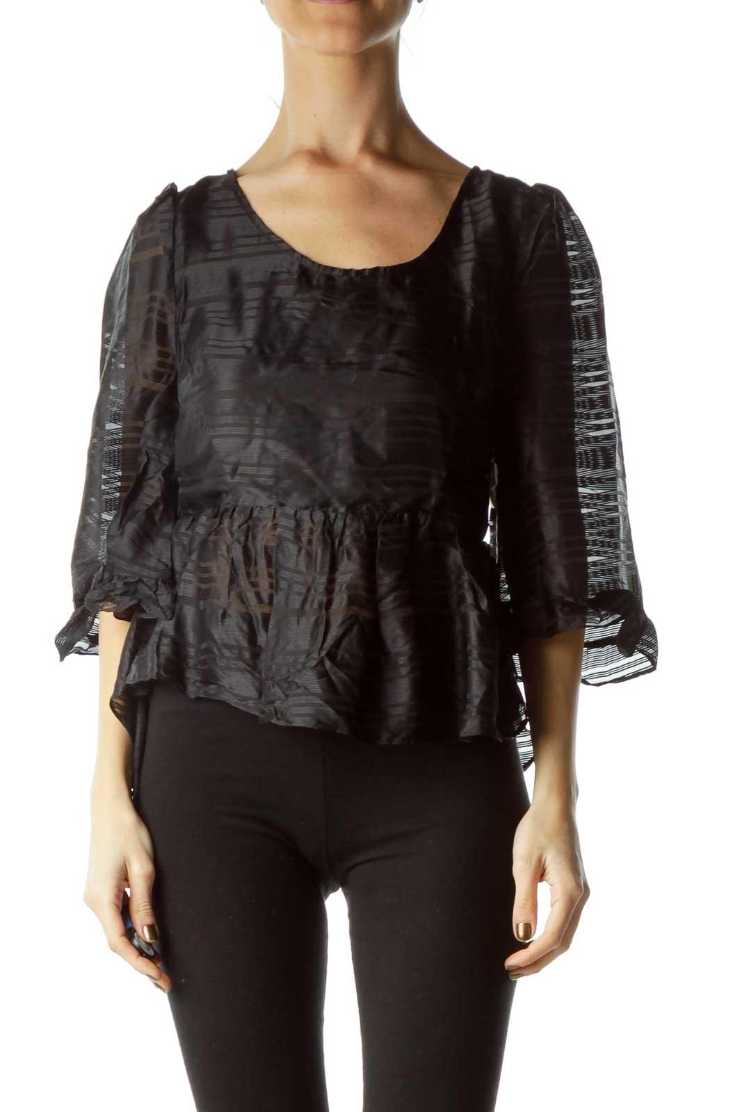 Black Sheer High-Low Silk Top
