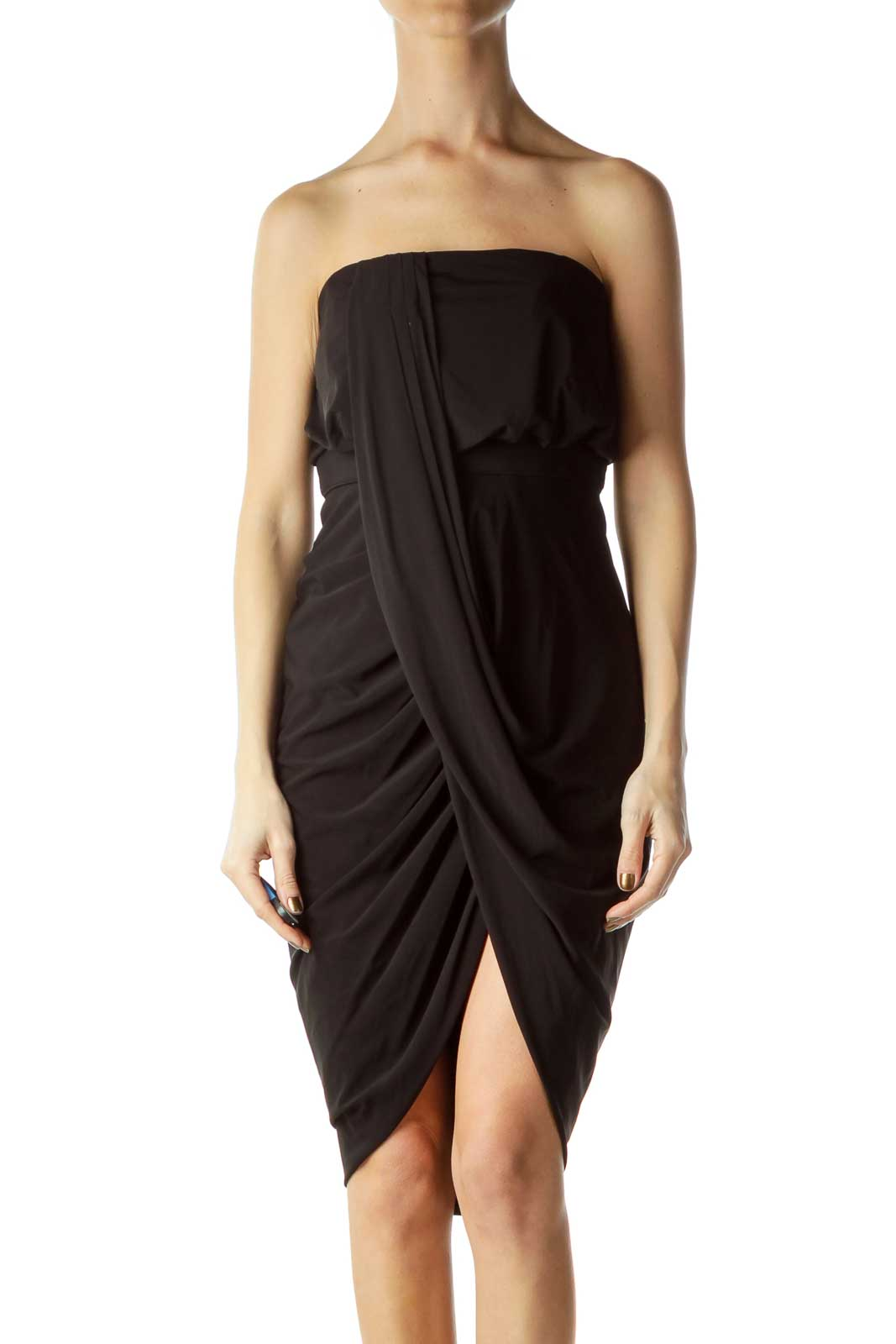 a7191d286c5c Shop Black Strapless Wrap Cocktail Dress clothing and handbags at SilkRoll.  Trade with us!