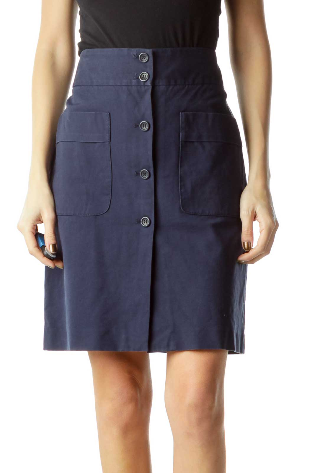 Blue Pocketed & Buttoned Skirt