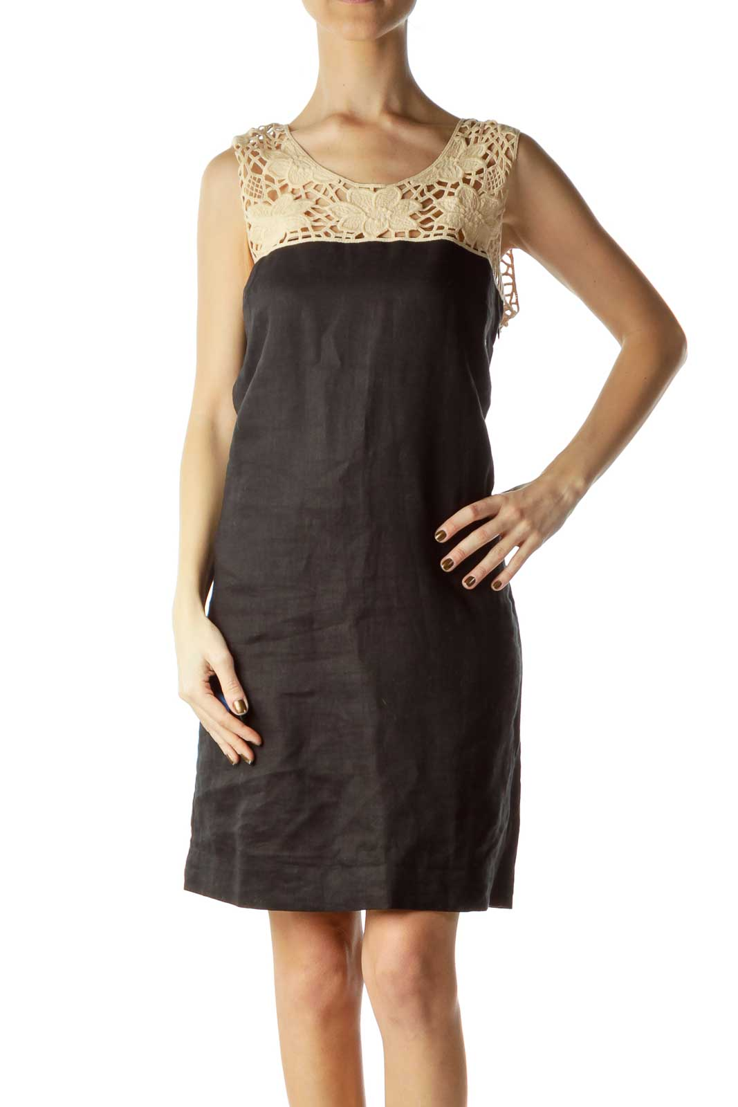 Beige Black Flower Lace Dress