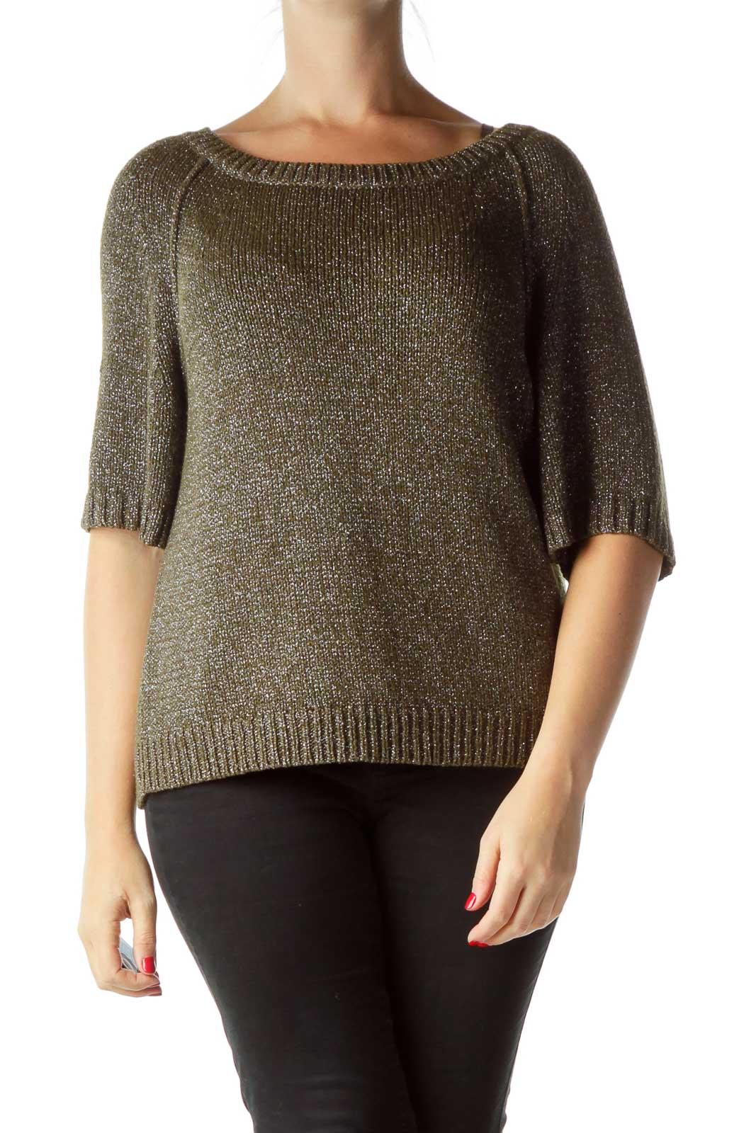 Gray Shimmery Loose Sweater