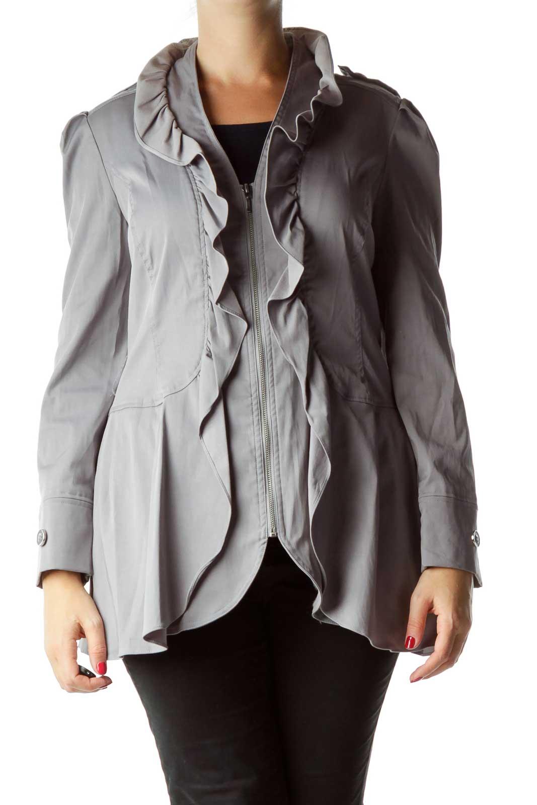 Gray Ruffled Buttoned Jacket