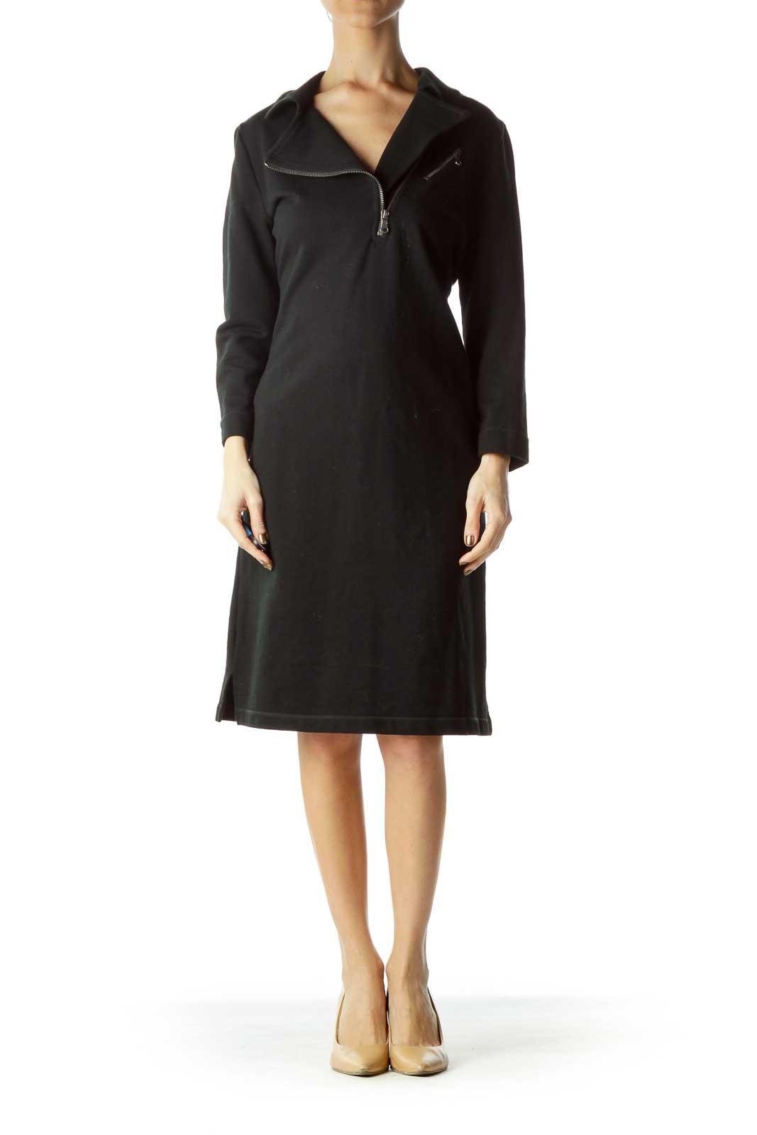 Black Zippered Sweatshirt Dress