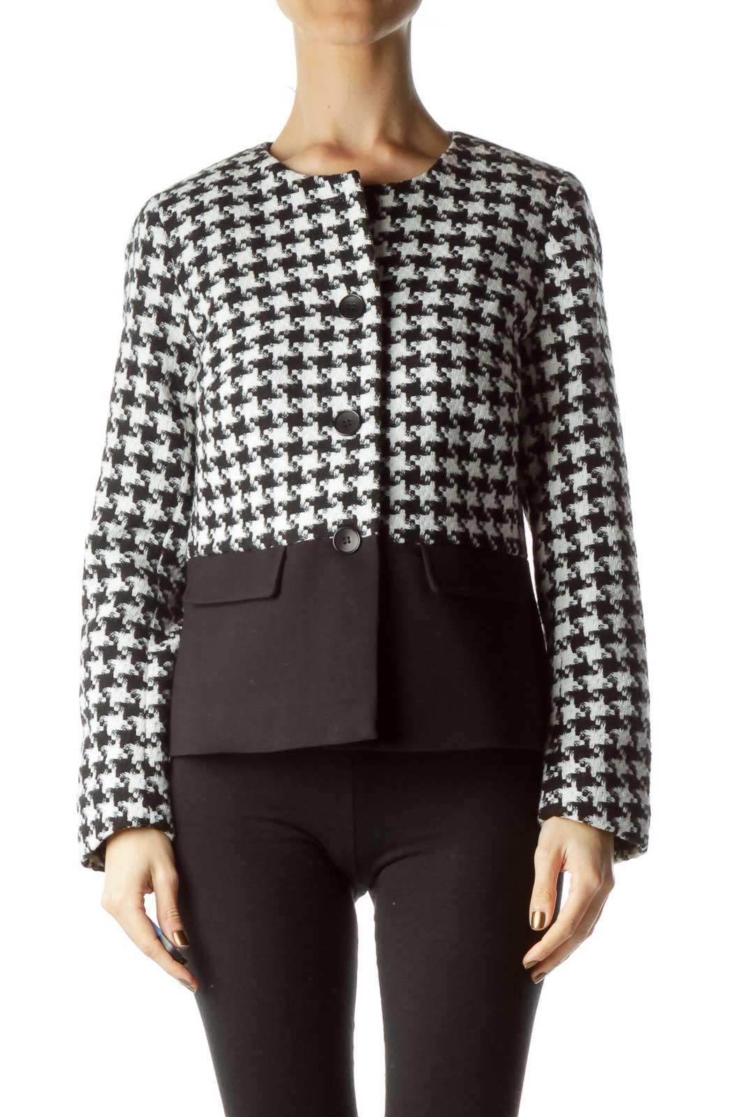 Black White houndstooth Tweed Jacket