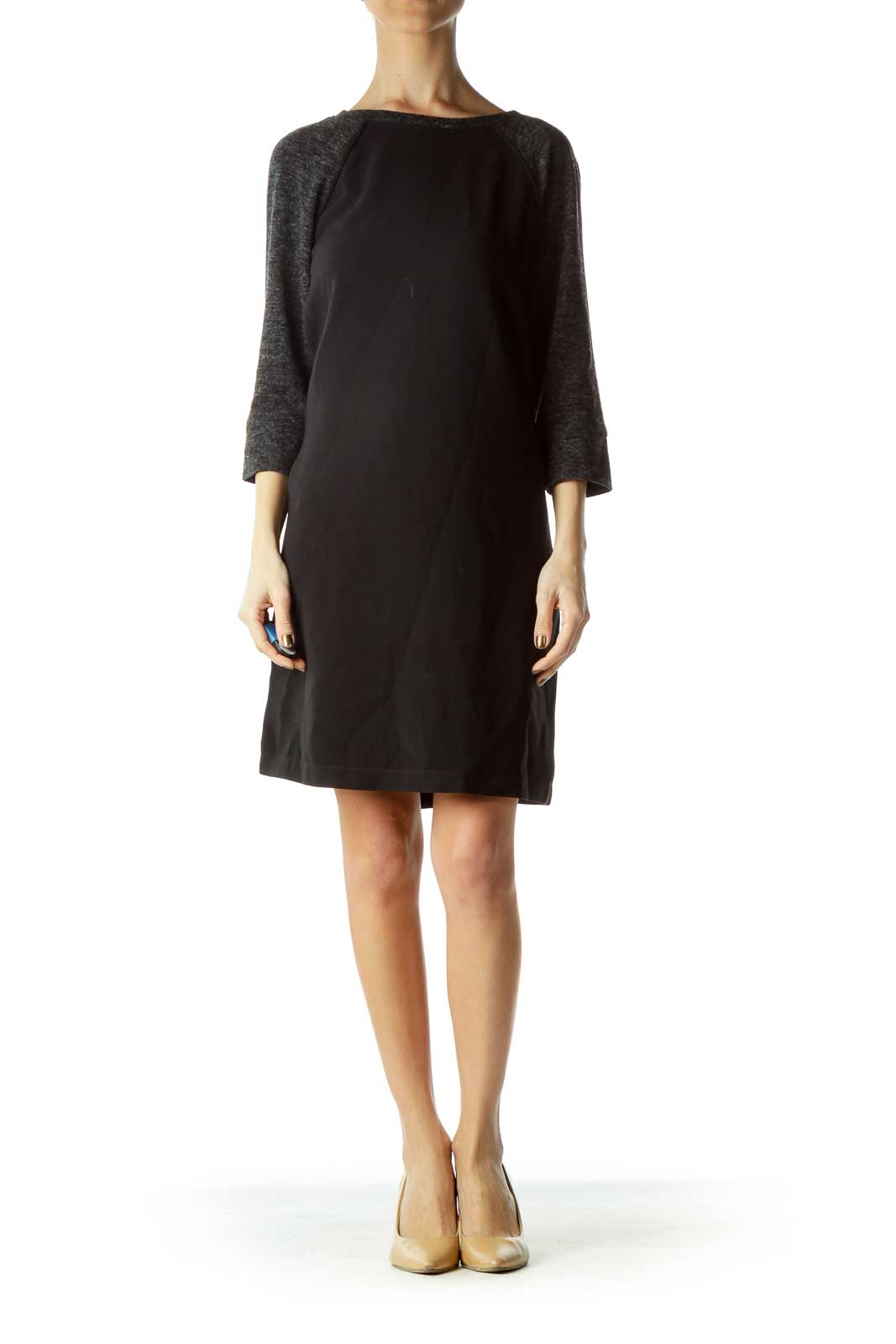 Black Shift Dress with Knit Sleeves