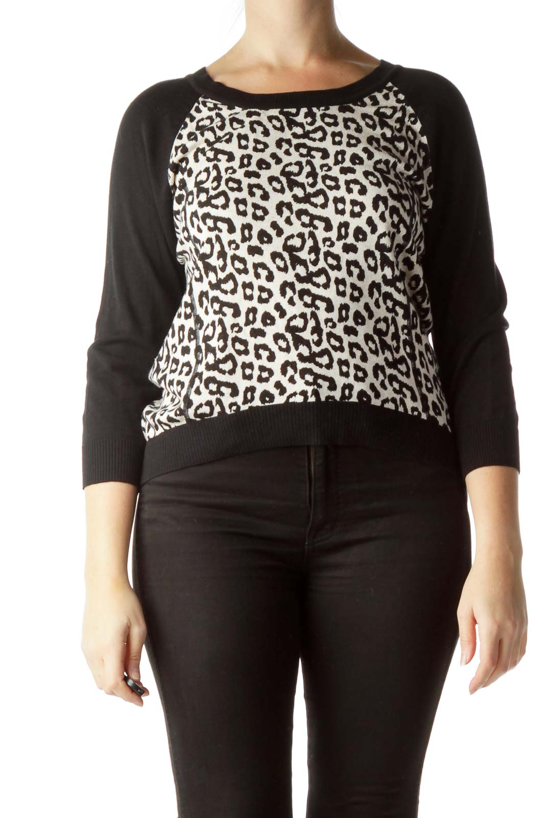Black Cream 100% Cotton Animal Print Sweater