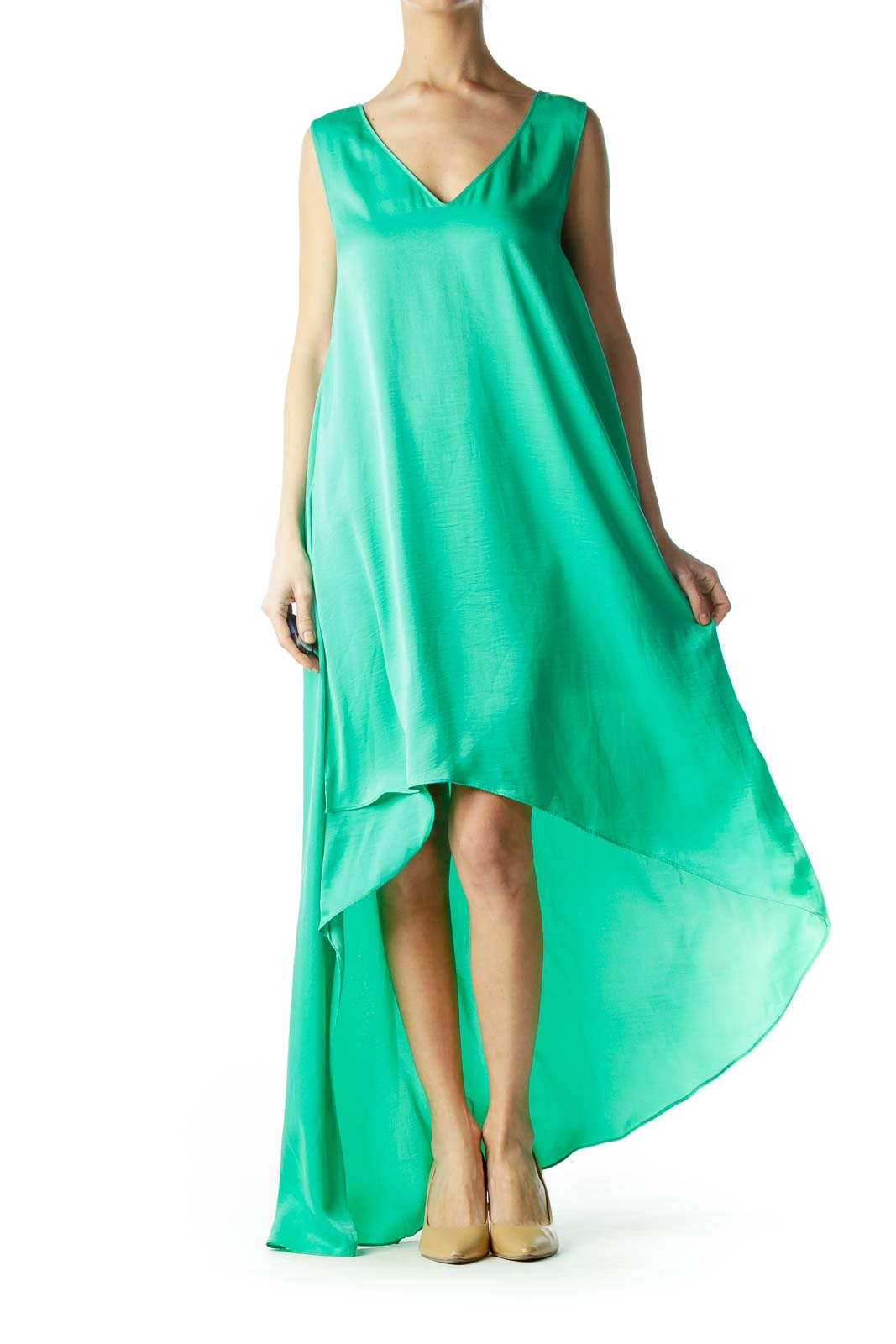 Emerald Green High-Low Day Dress