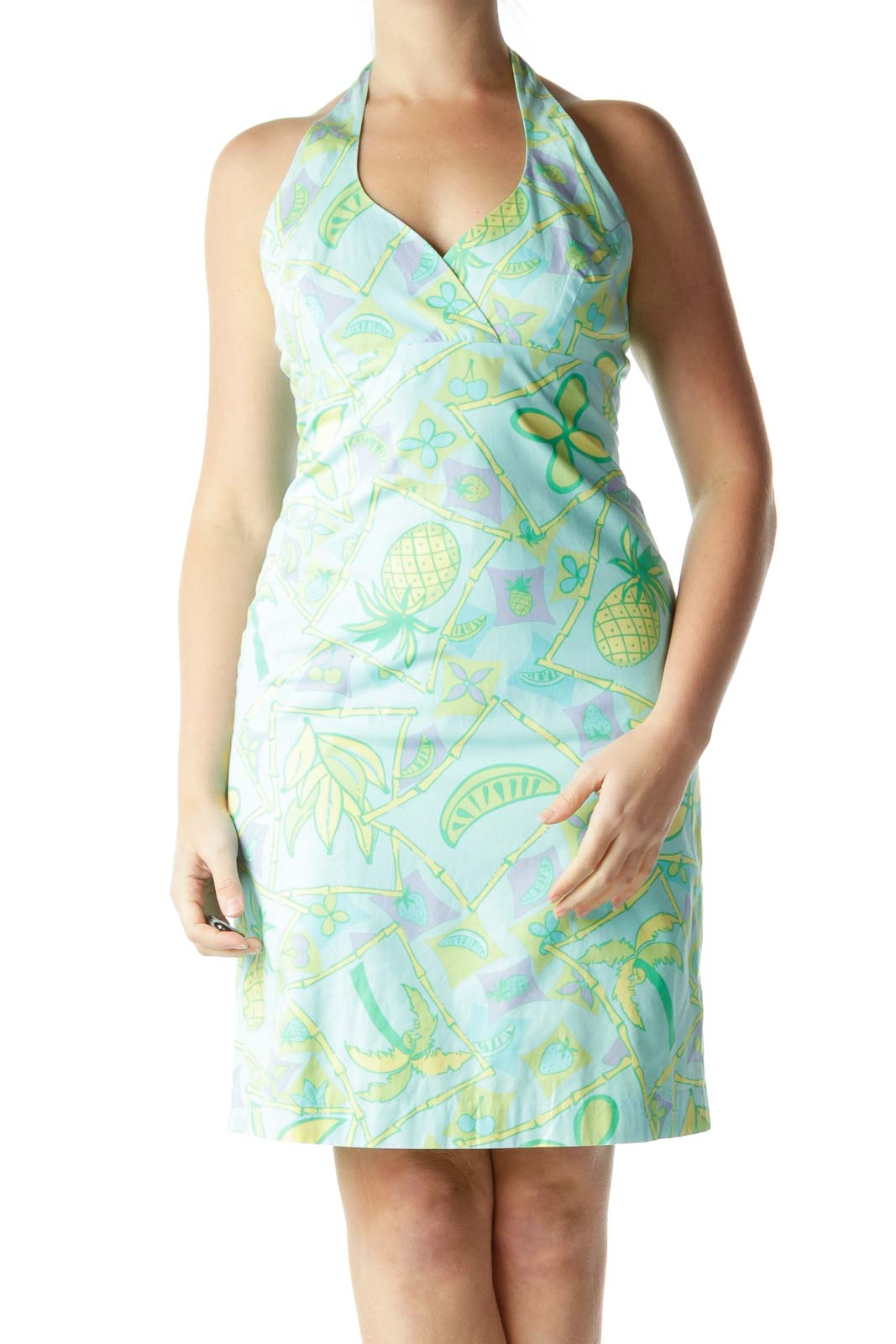 Multicolored Tropical Print Halter Day Dress