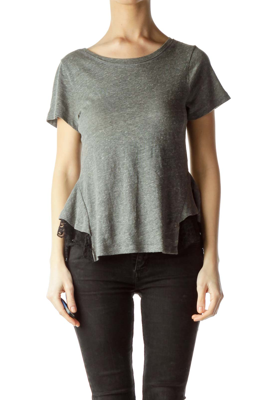 Gray Black Lace Short Sleeve T-Shirt