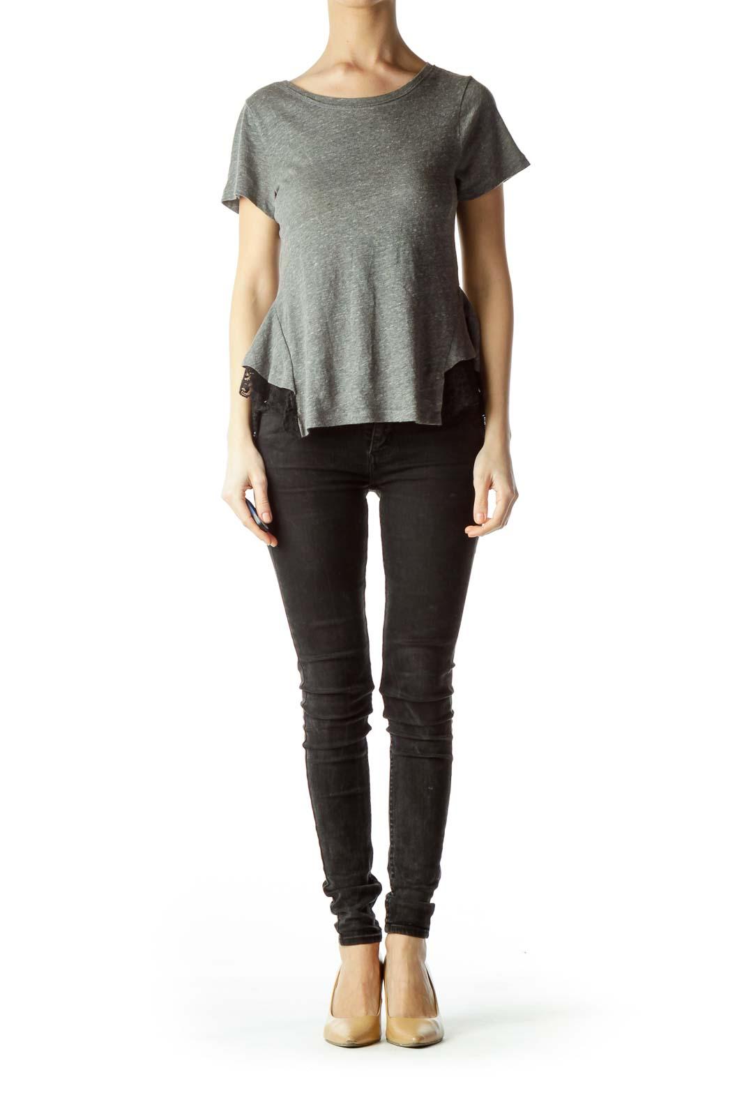 Gray Black Lace Short Sleeve T-Shirt