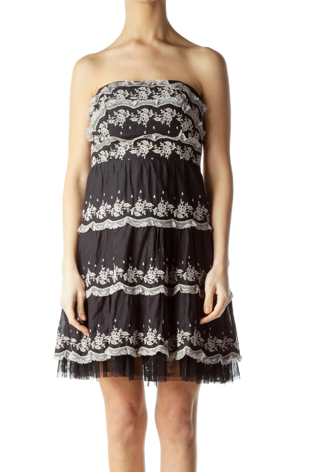 Black Embroidered Strapless Dress