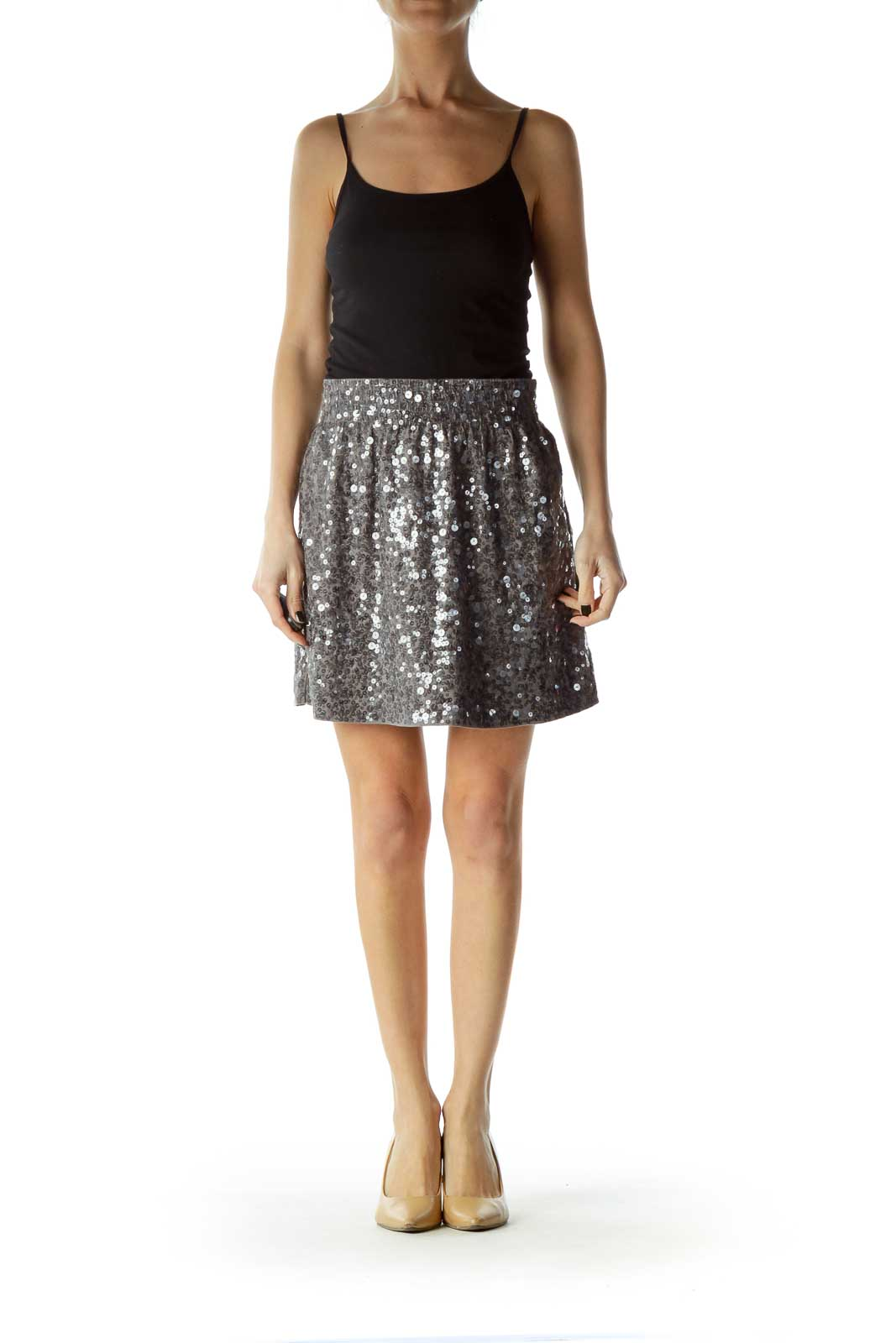 Gray Sequined Mini Skirt