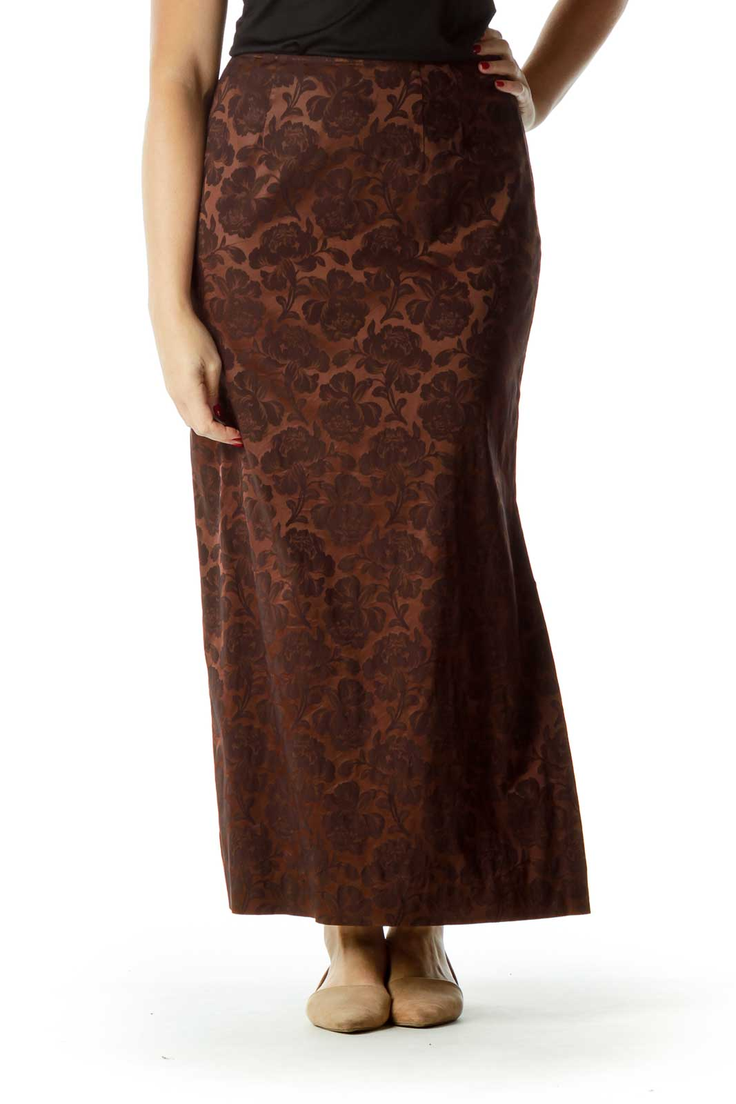 Brown Tonal Print Maxi Skirt