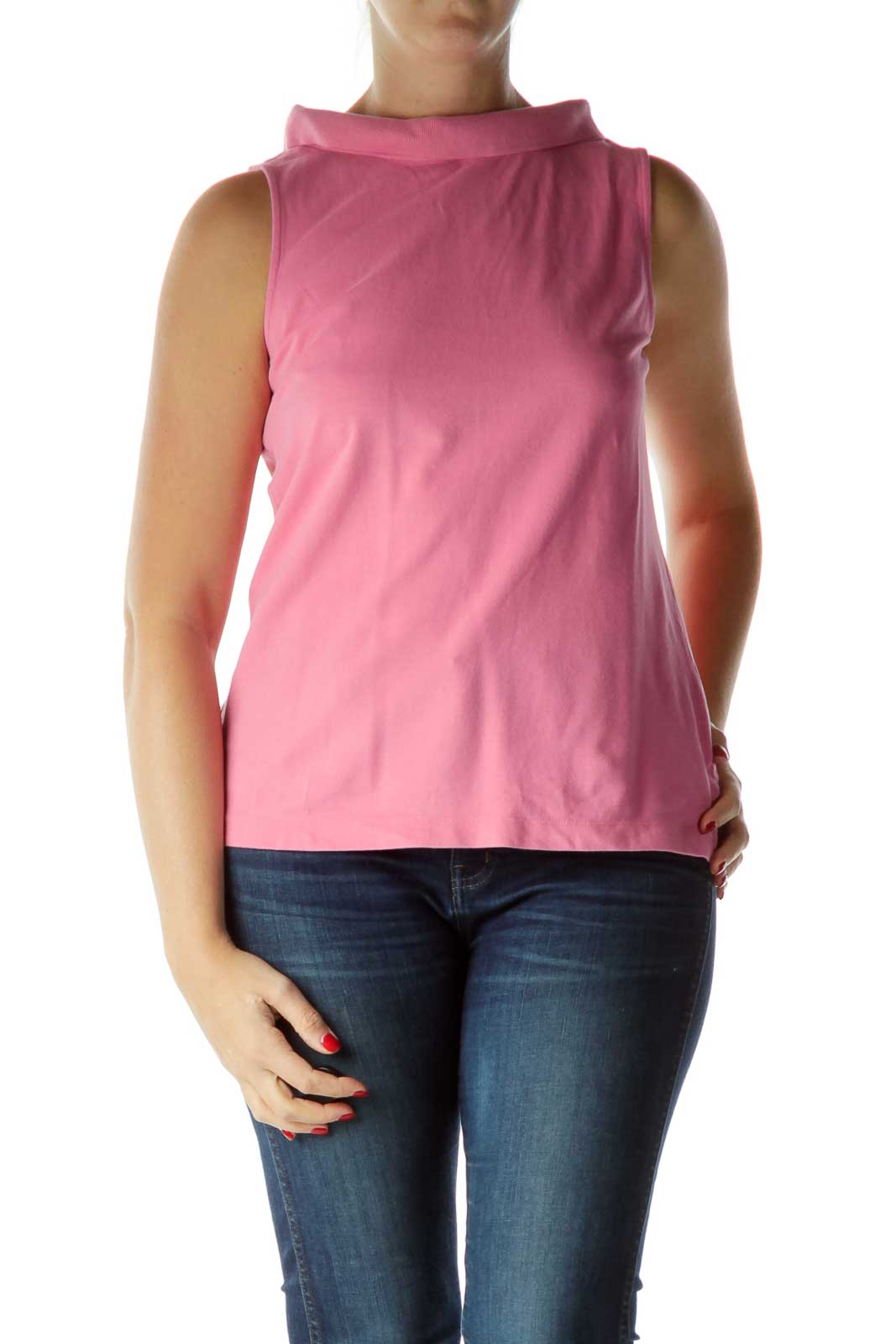 Pink Collared Sleeveless Jersey-Knit Shirt