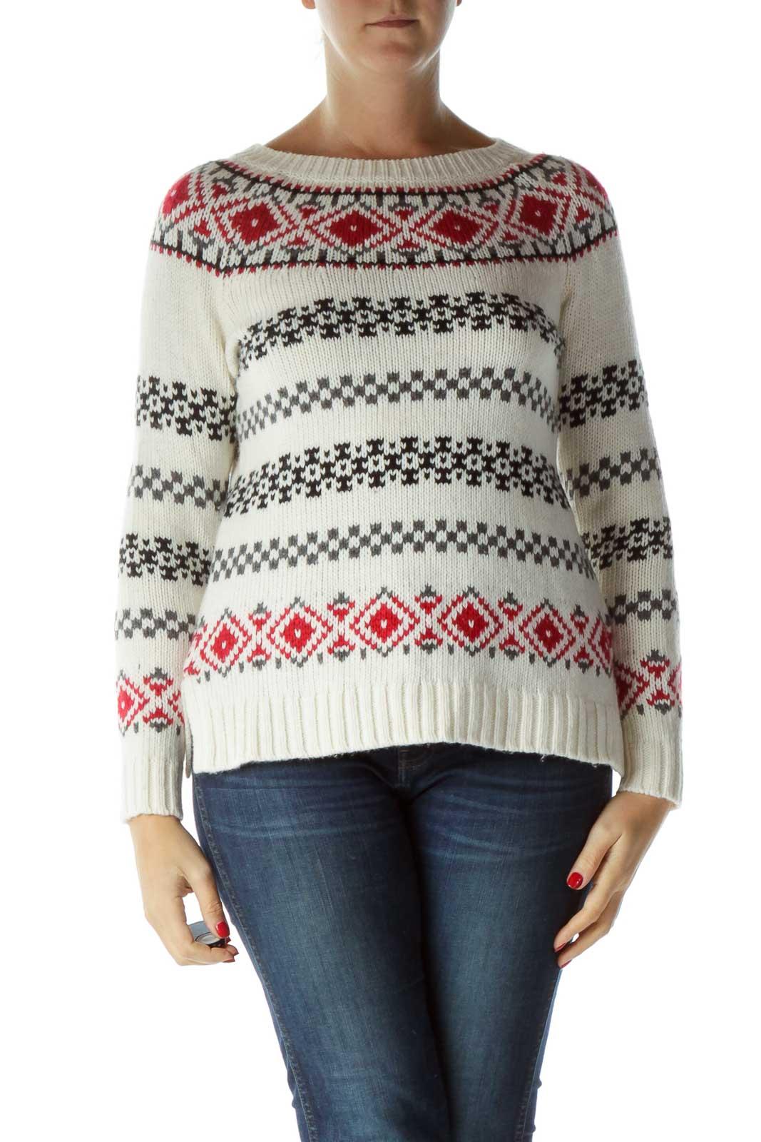 Cream Argyle Sweater