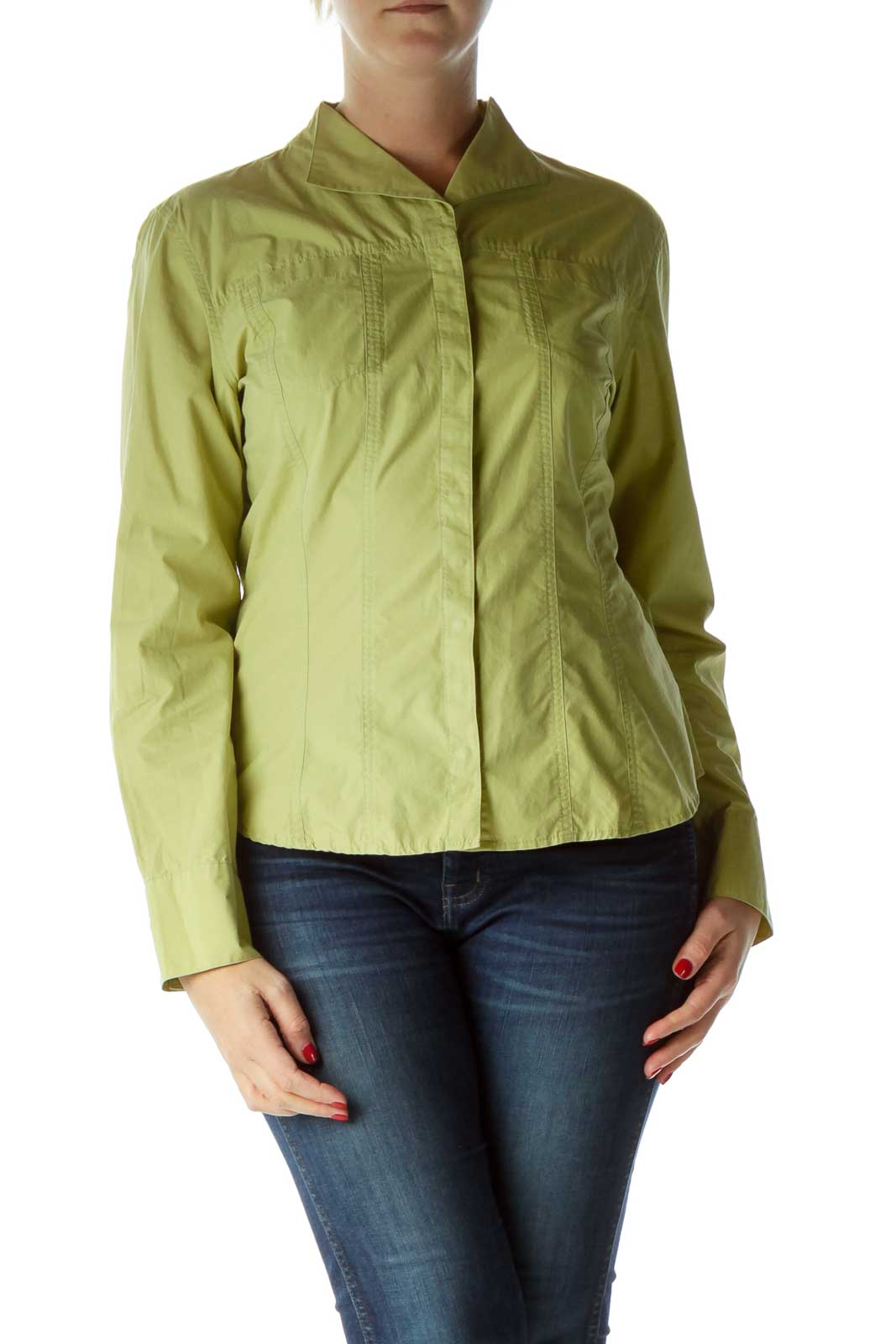 Green Cotton Shirt with Snaps