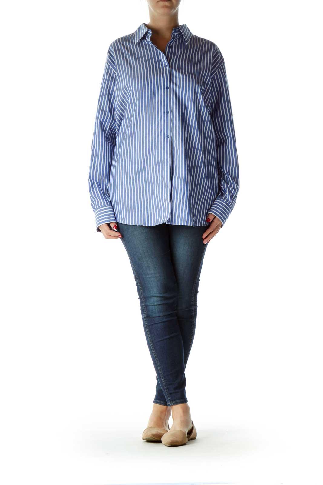 Blue White Pinstripe Collared Shirt
