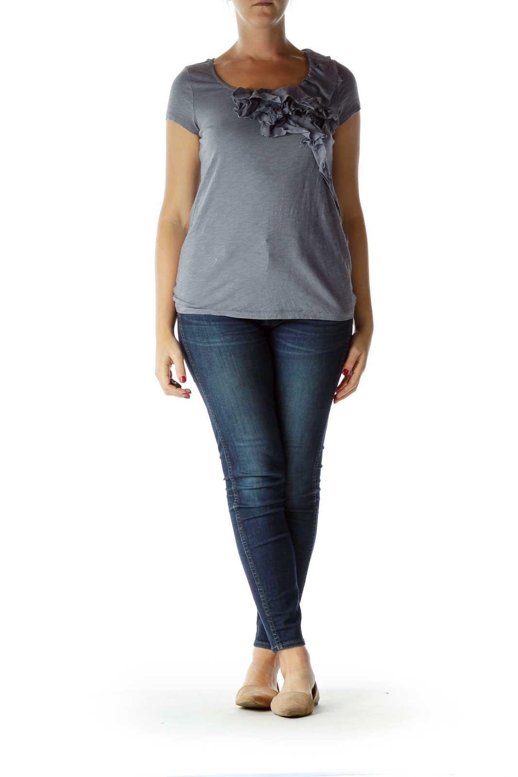 Blue Ruffled Short Sleeve T-Shirt