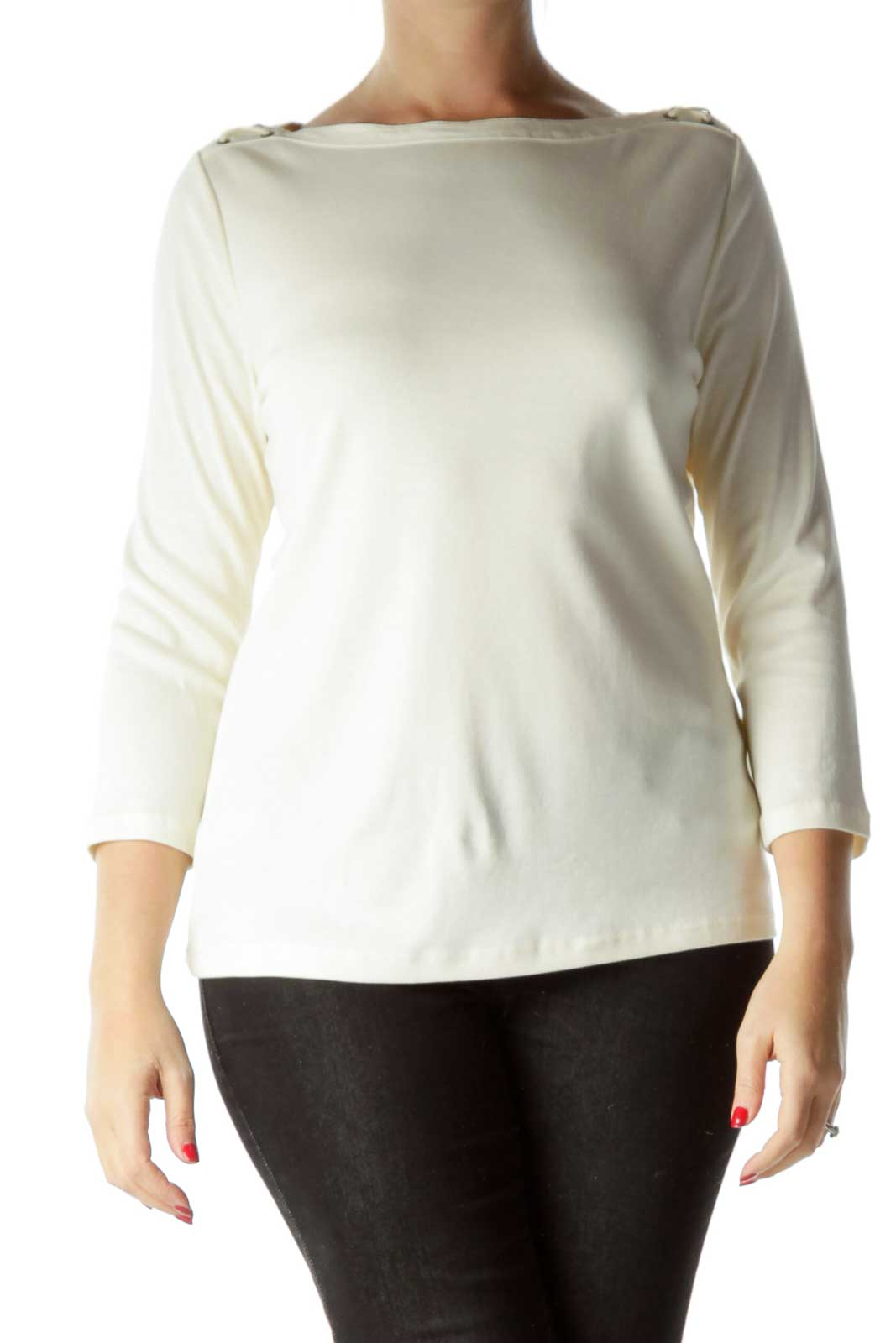 Cream Cotton Long Sleeve Top