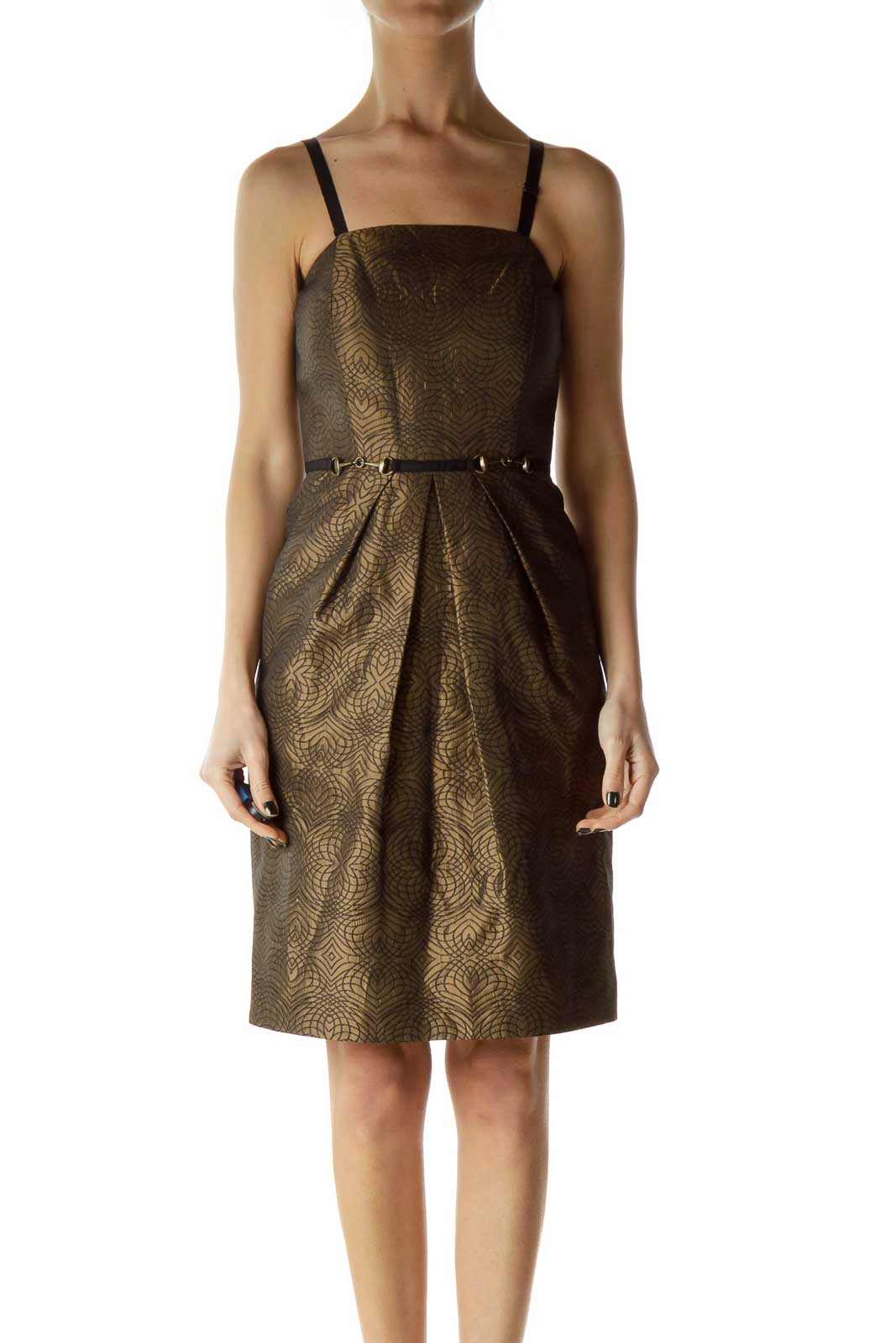 Brown Metallic Printed Cocktail Dress