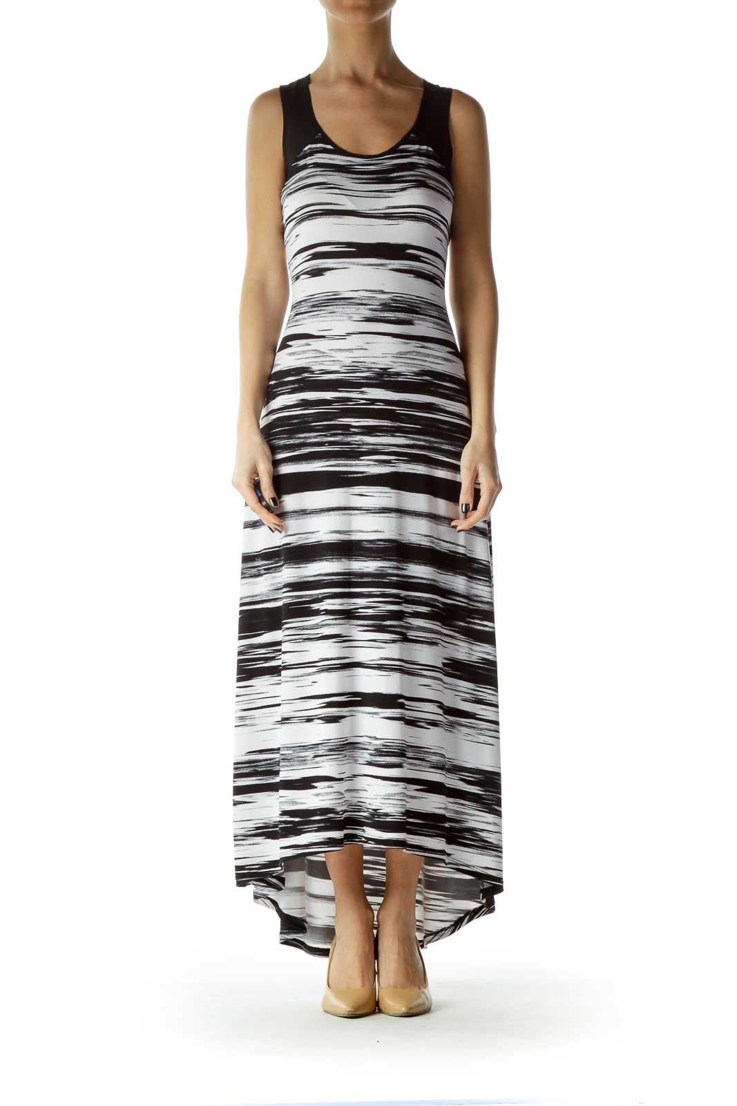 Black White Printed Sleeveless Maxi Dress